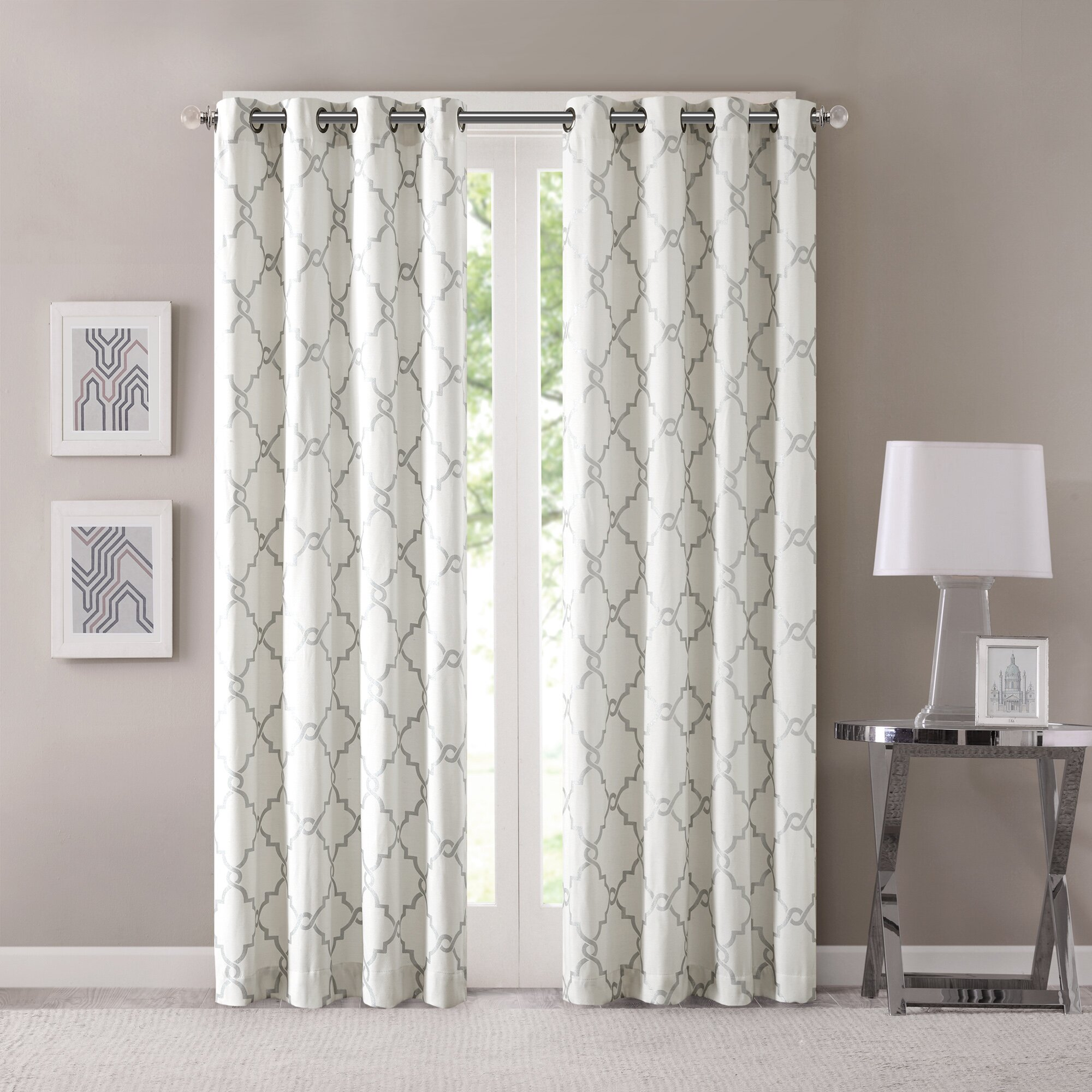 Three Posts Winnett Geometric Semi Sheer Grommet Single Curtain Panel Reviews Wayfair