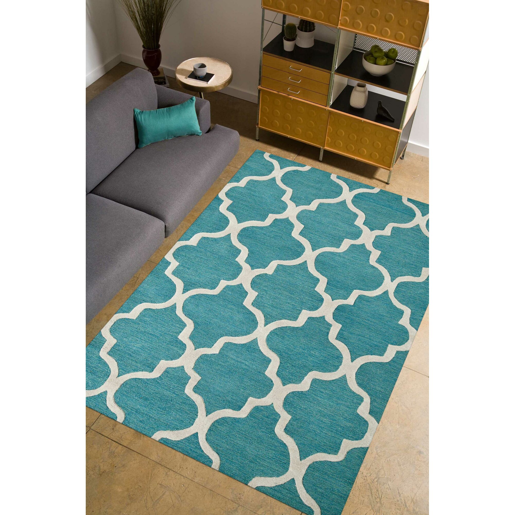 parwis handgetufteter teppich miami in hellblau. Black Bedroom Furniture Sets. Home Design Ideas