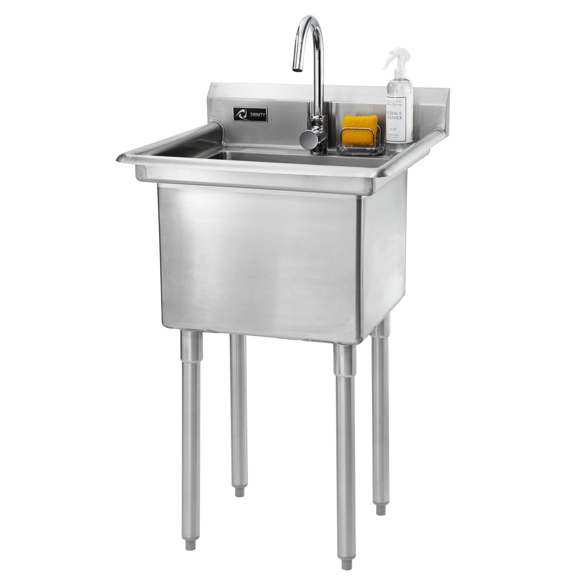Trinity 23 X Single Stainless Steel Utility Sink With