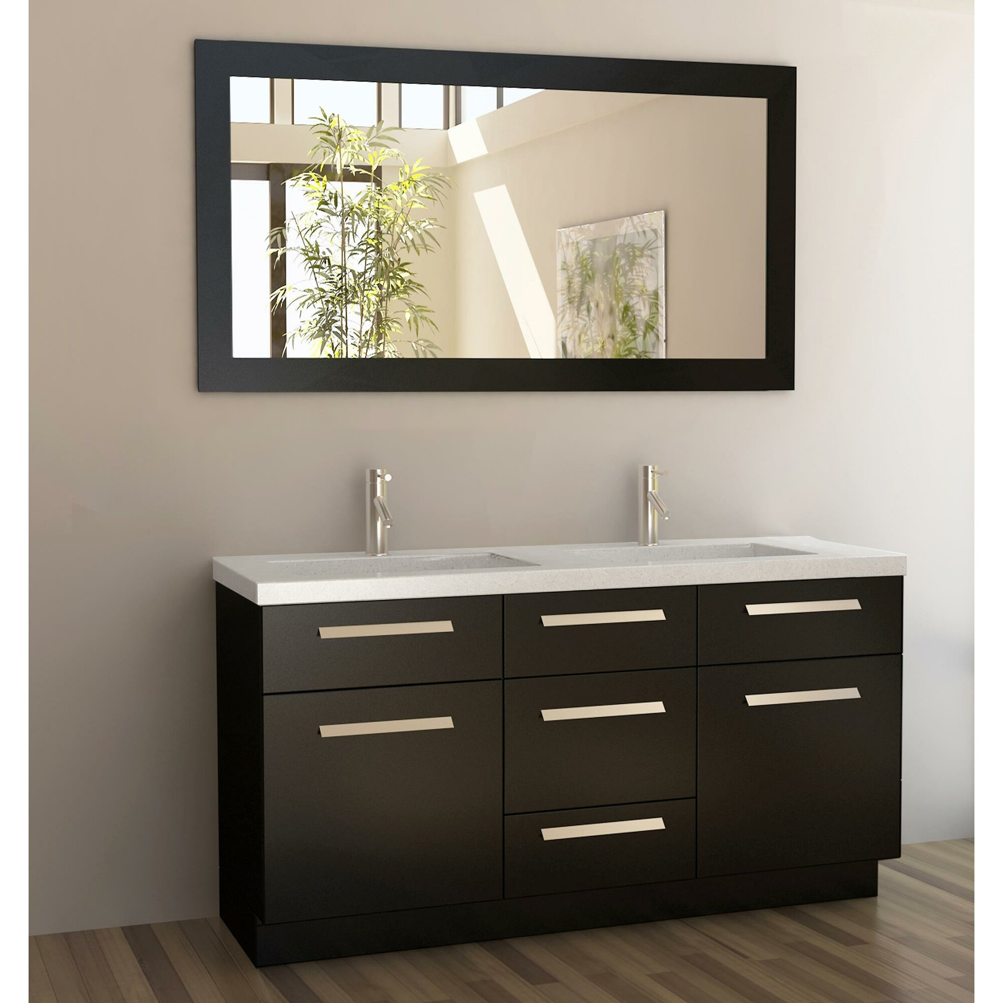 Double bathroom vanity - Arnette 60 Double Bathroom Vanity Set With Mirror