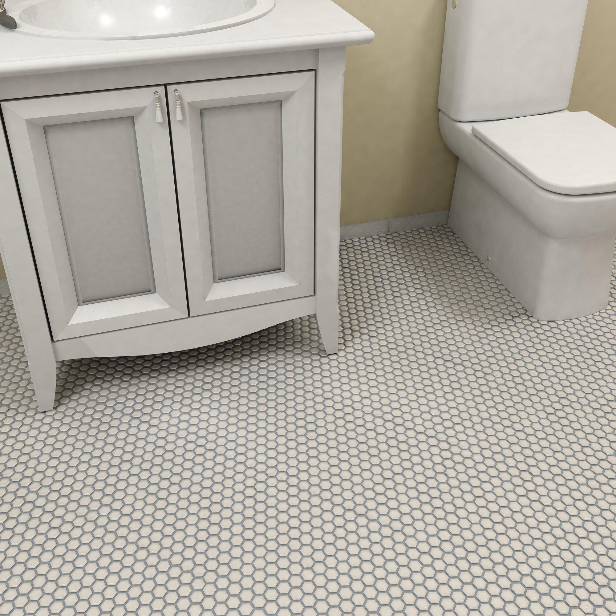 """Porcelain Bathroom Floor Tiles: EliteTile Retro 0.875"""" X 0.875"""" Hex Porcelain Mosaic Tile"""