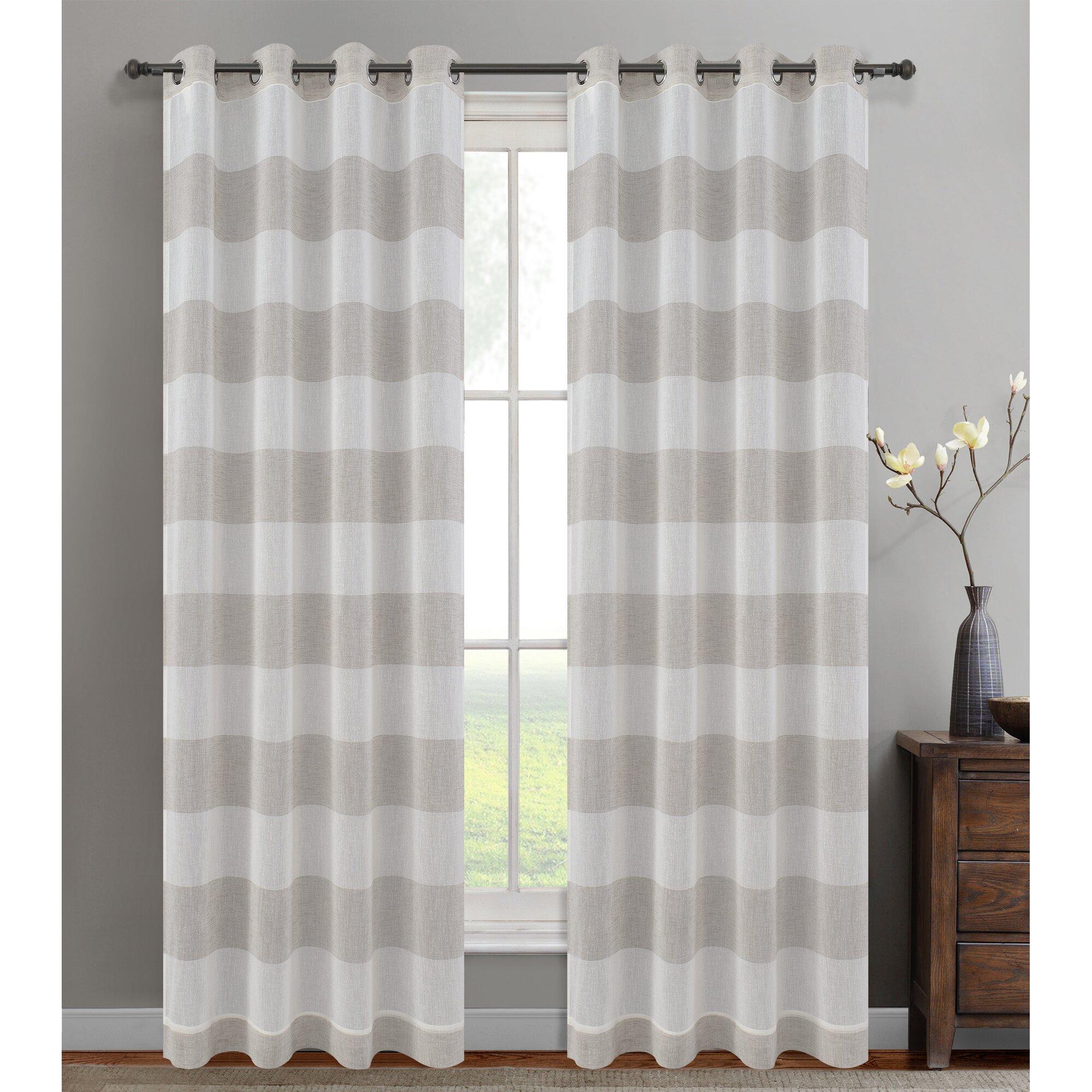 Urbanest Nassau Striped Sheer Grommet Curtain Panels