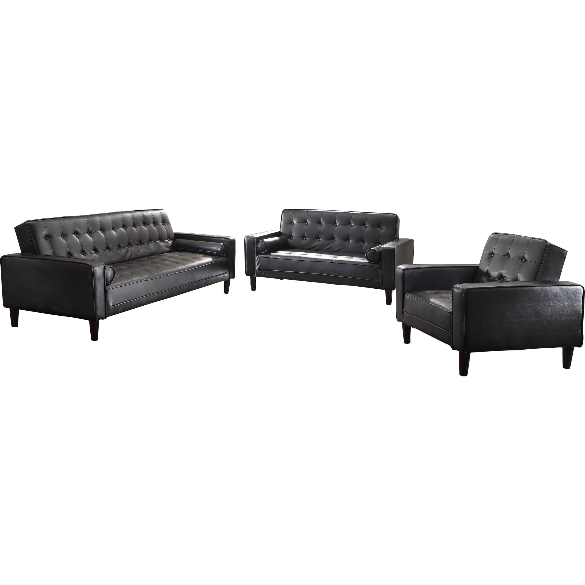 Wade Logan Derek Faux Leather Living Room Collection & Reviews ...