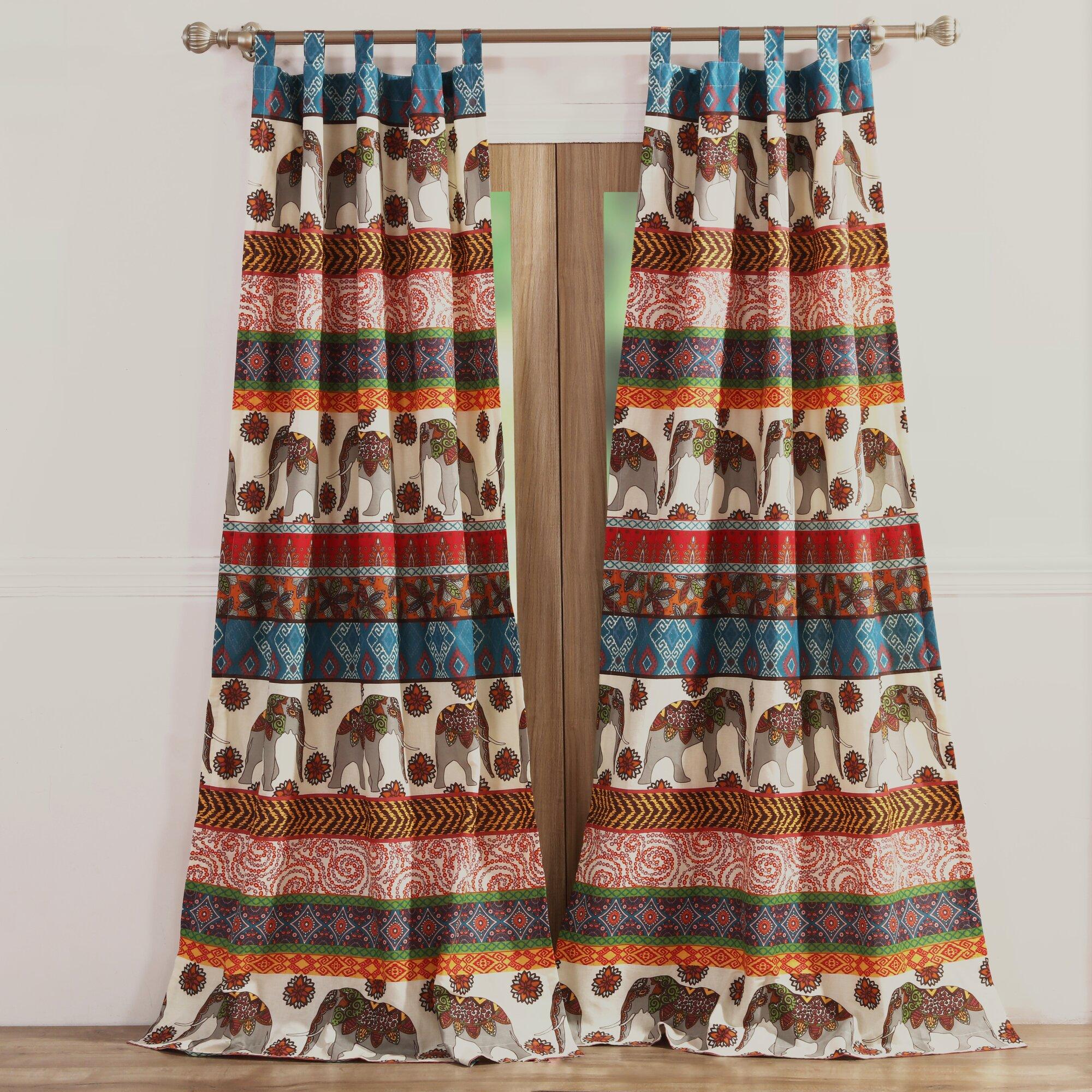 Brown plaid curtain panels - Kandula Wildlife Sheer Tab Top Curtain Panels