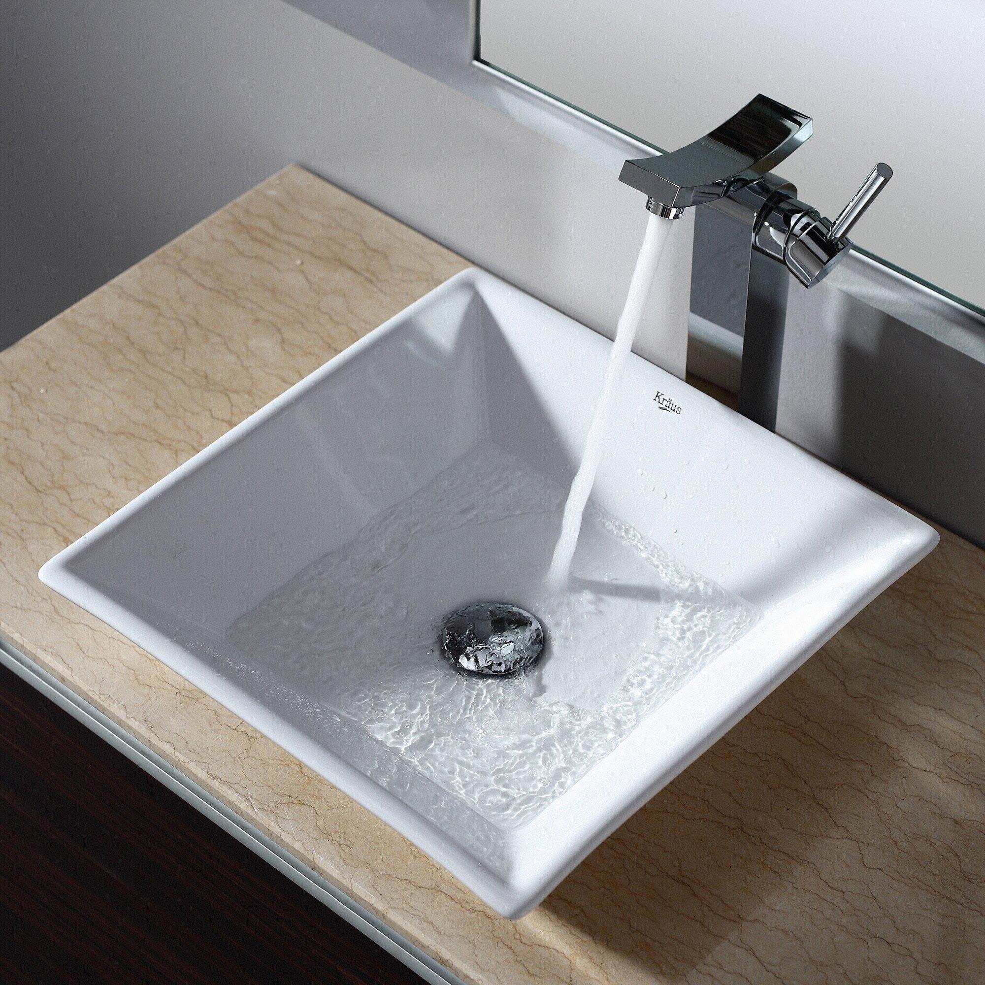 Bathroom square vessel sinks - Ceramic Square Vessel Bathroom Sink