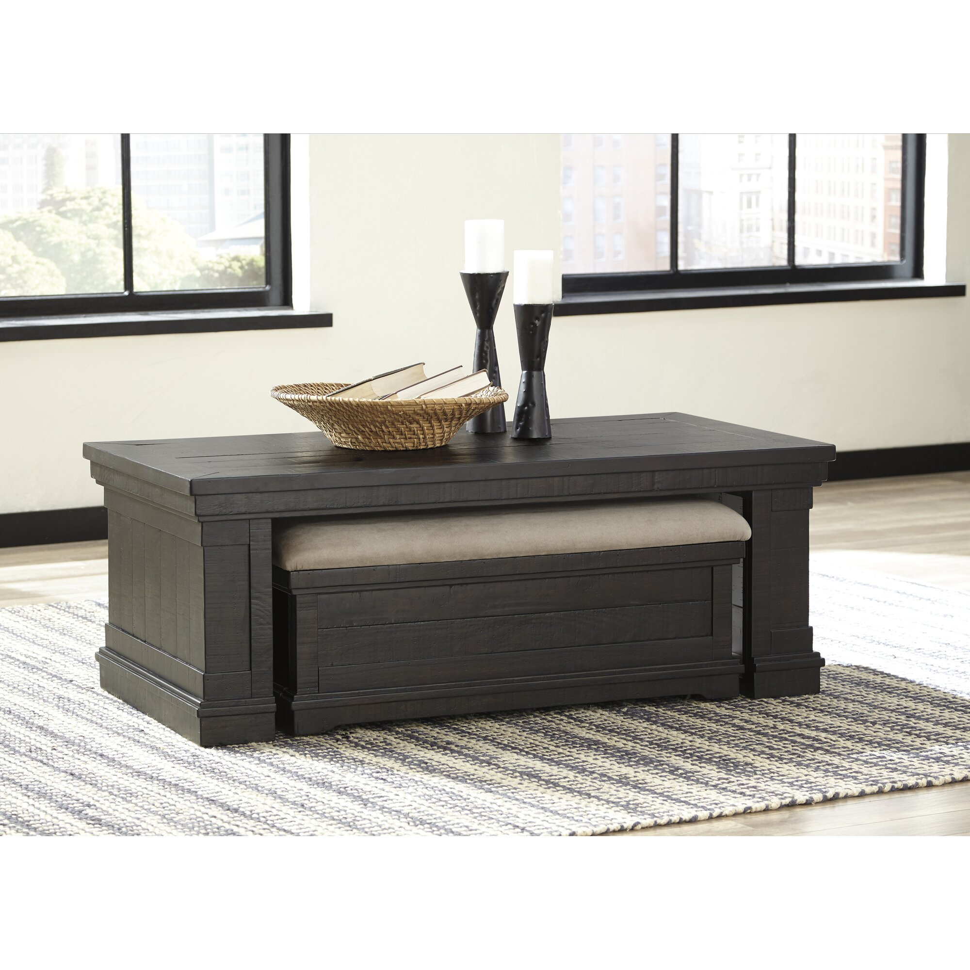Coffee table with nesting ottomans - Fargo Coffee Table With Nested Ottoman