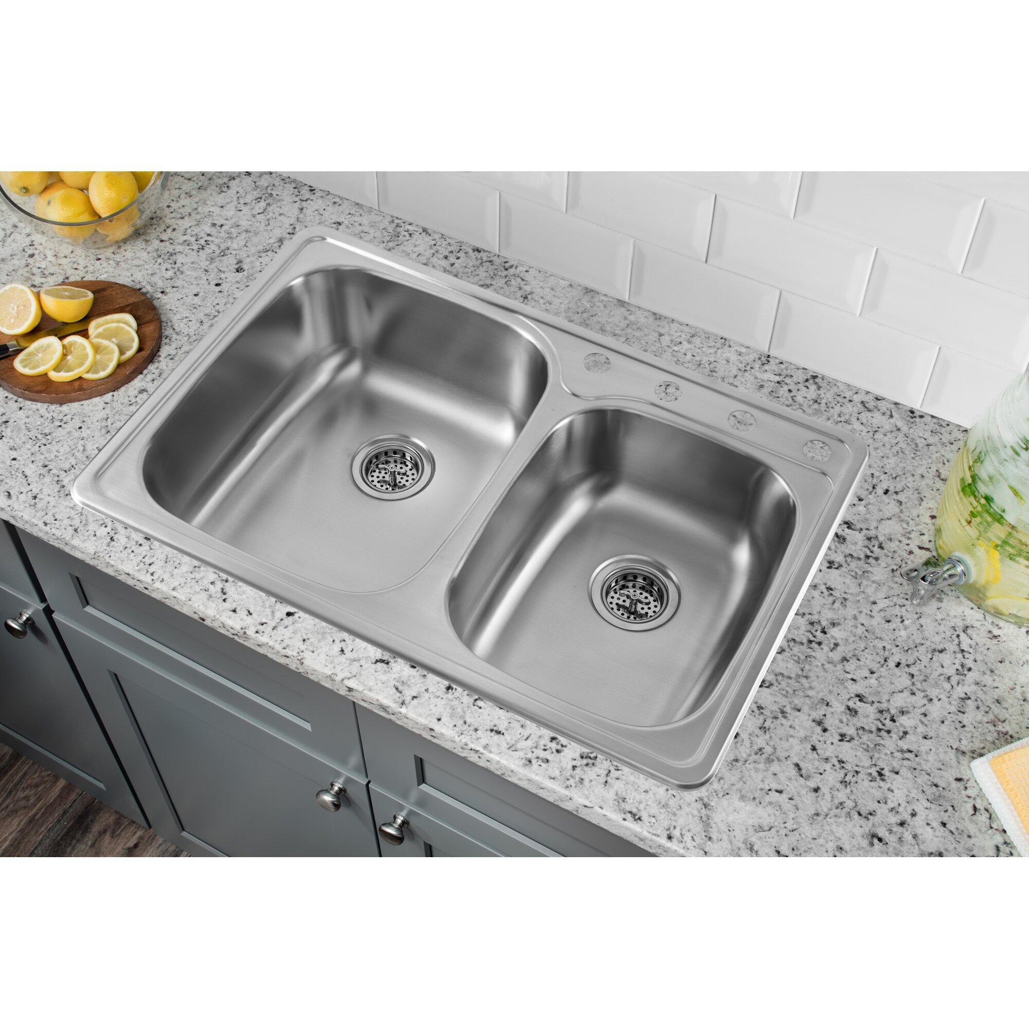 33 x 22 stainless steel drop in double bowl kitchen sink - Bowl Kitchen Sink