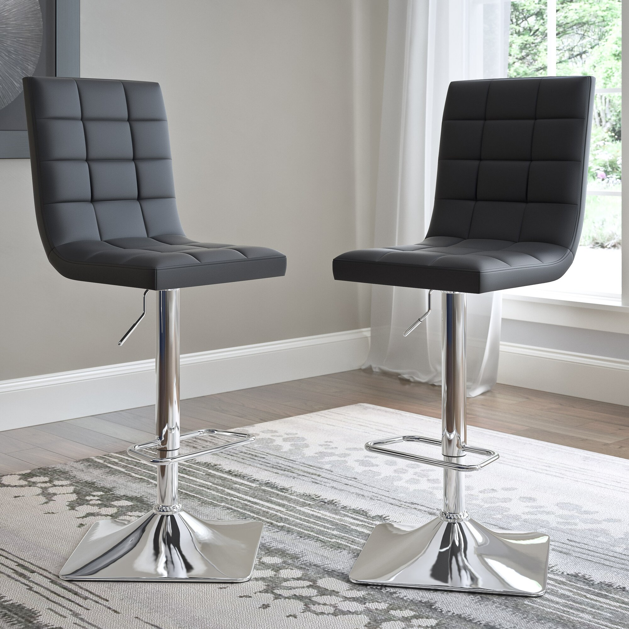 Wade Logan Martins Adjustable Height Swivel Bar Stool
