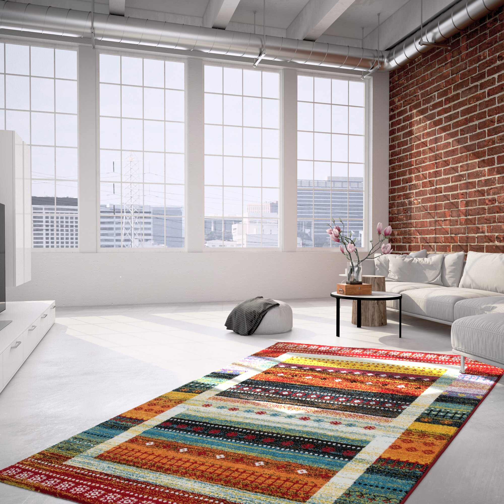 kayoom teppich castara 253 in rot blau. Black Bedroom Furniture Sets. Home Design Ideas