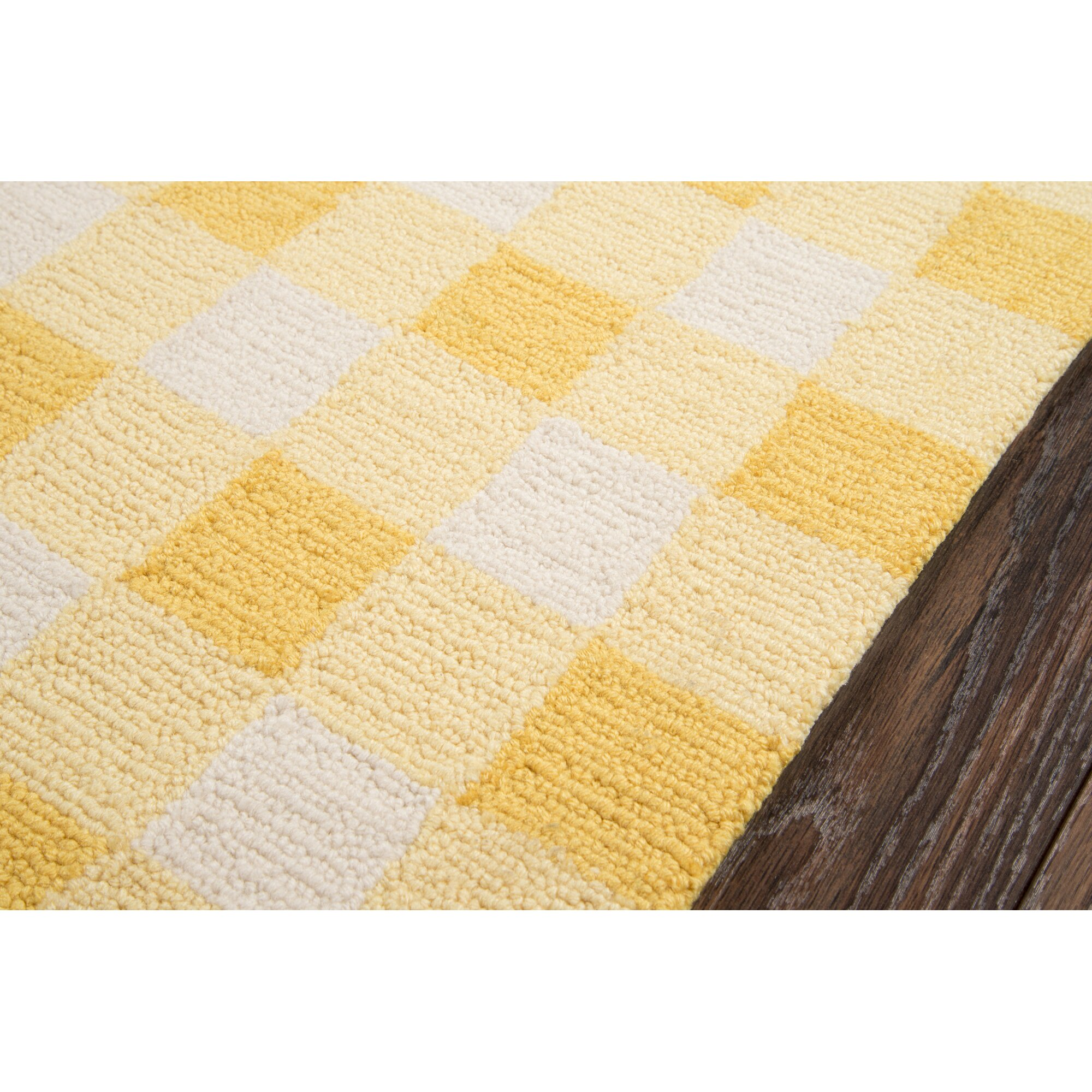 Yellow Checkered Rug: August Grove Violet Hand-Woven Yellow/White Area Rug