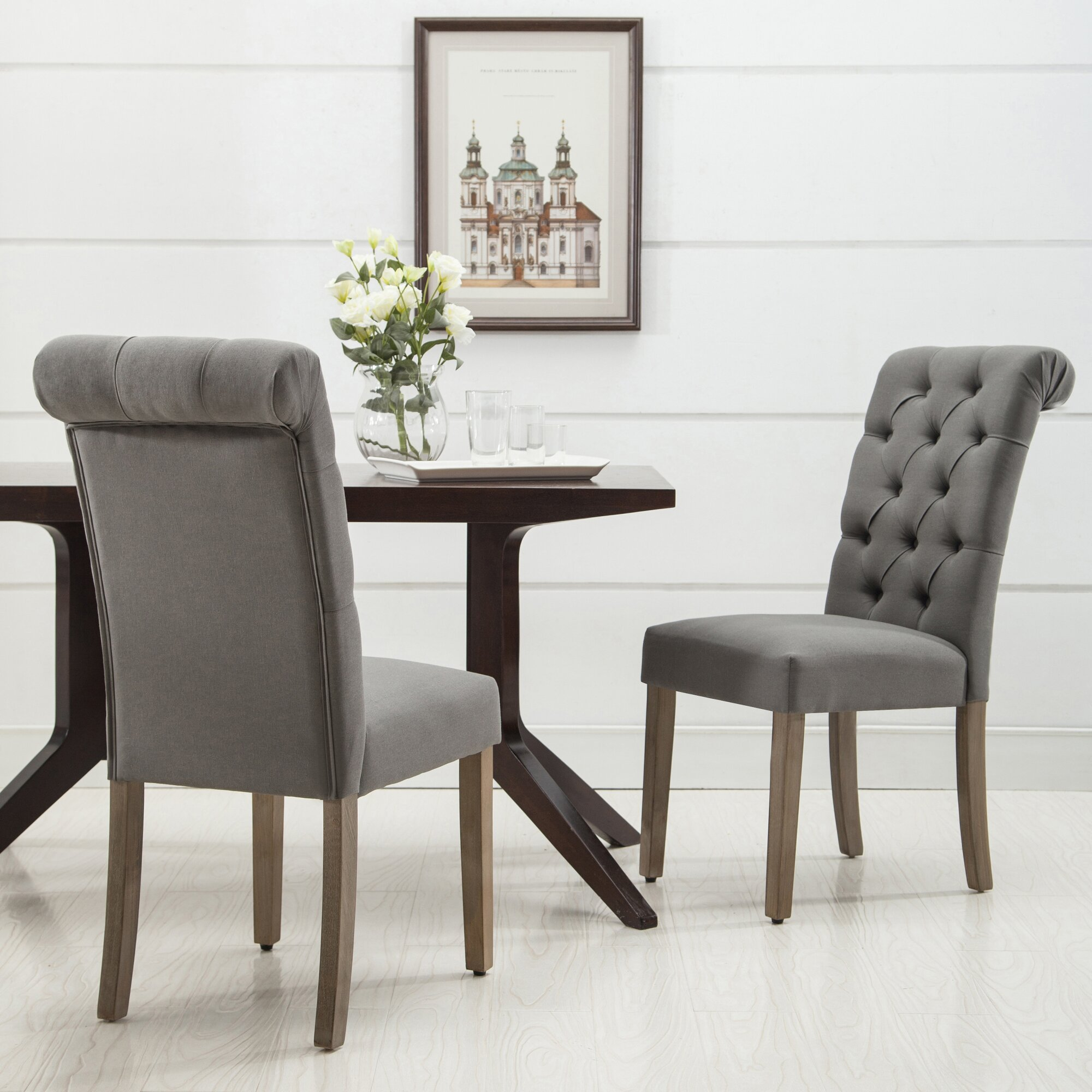 AC Pacific Christies Roll Top Tufted Modern Side Chair