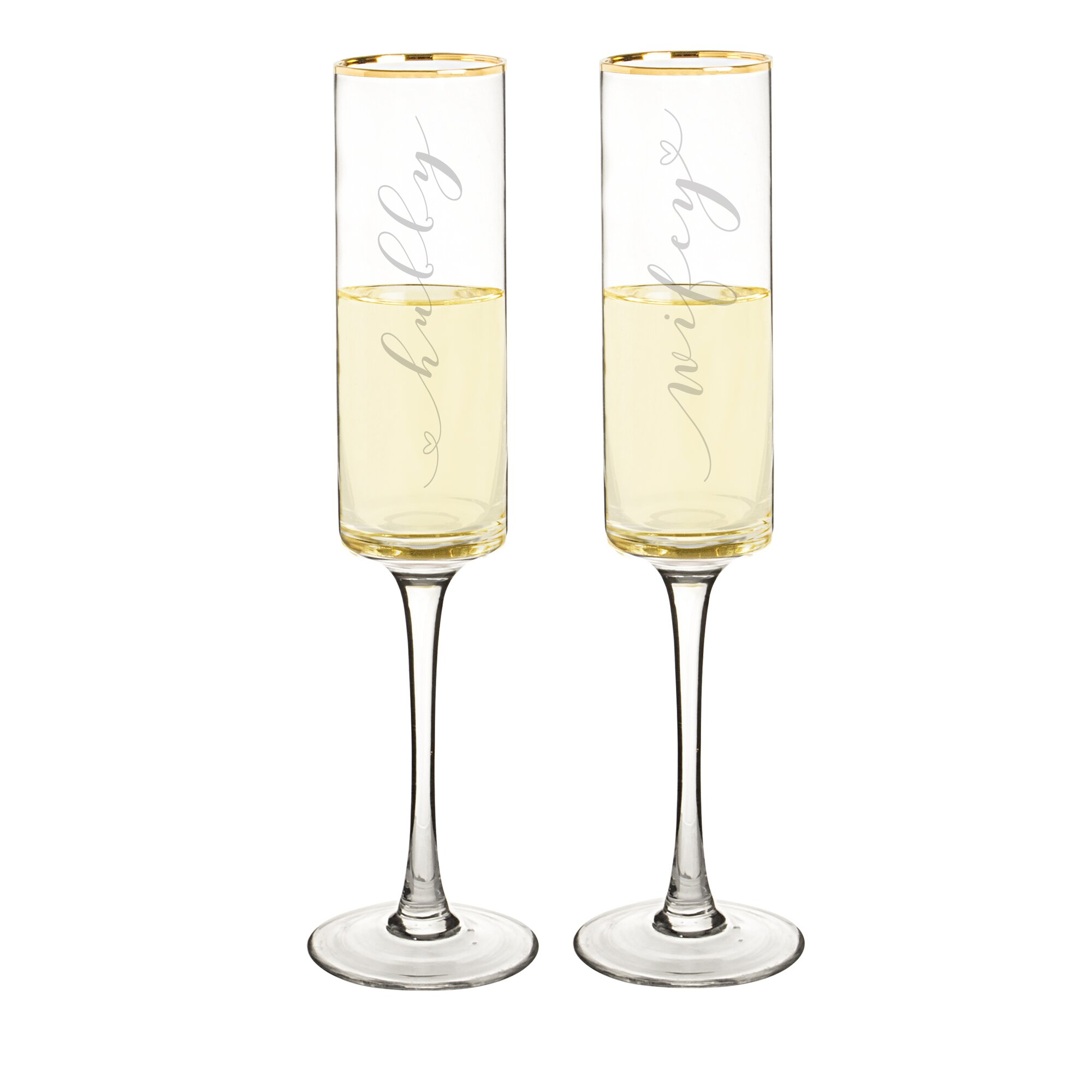 Cathys Concepts Wedding Hubby and Wifey Gold Rim Contemporary Champagne Flutes YCT wedding wine glasses Wedding Hubby and Wifey Gold Rim Contemporary Champagne Flutes