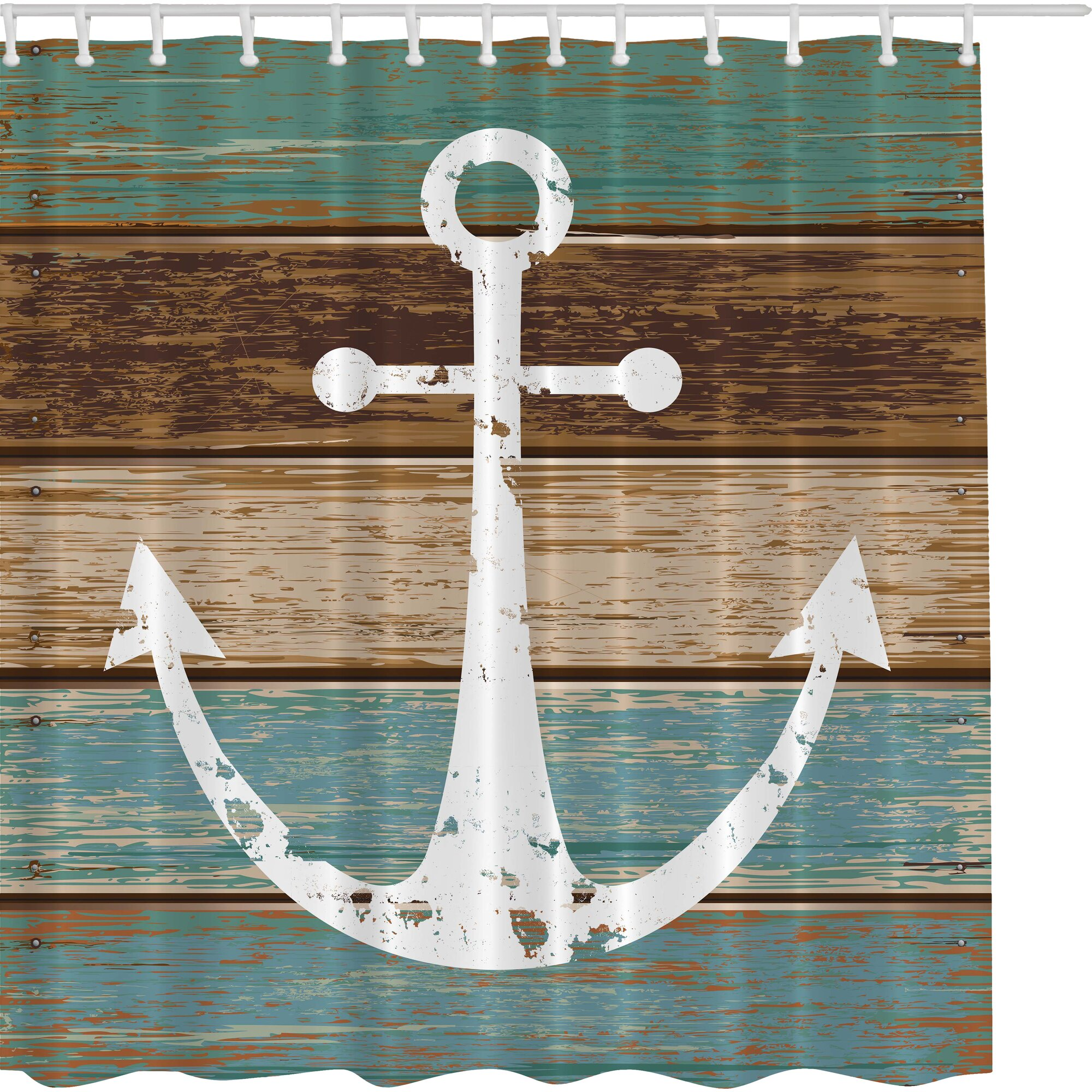 Beachcrest Home Patria Print Shower Curtain  Reviews Wayfair - Brown and turquoise shower curtain