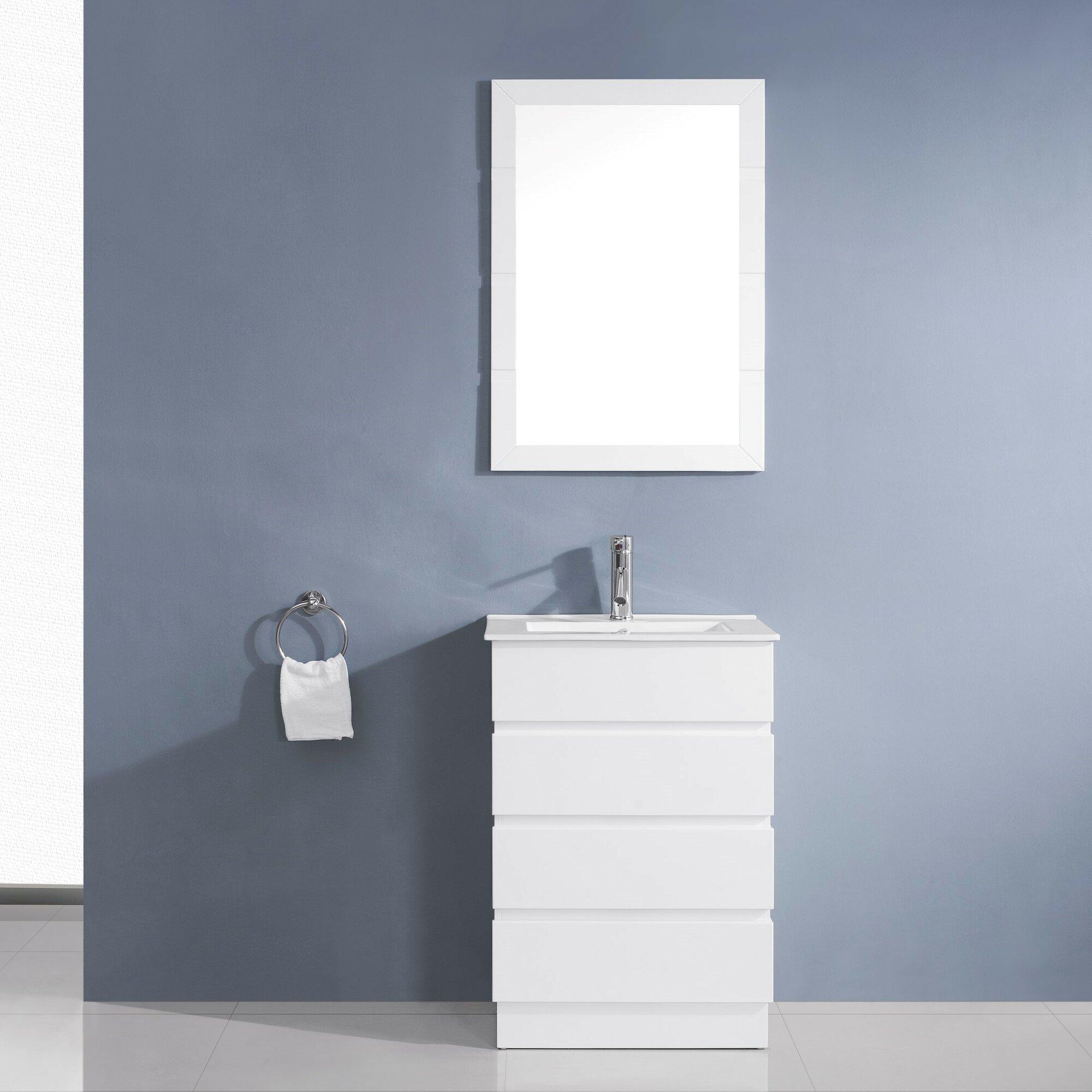 Virtu bathroom accessories - Bruno 24 Single Contemporary Bathroom Vanity Set With Ceramic Top And Mirror