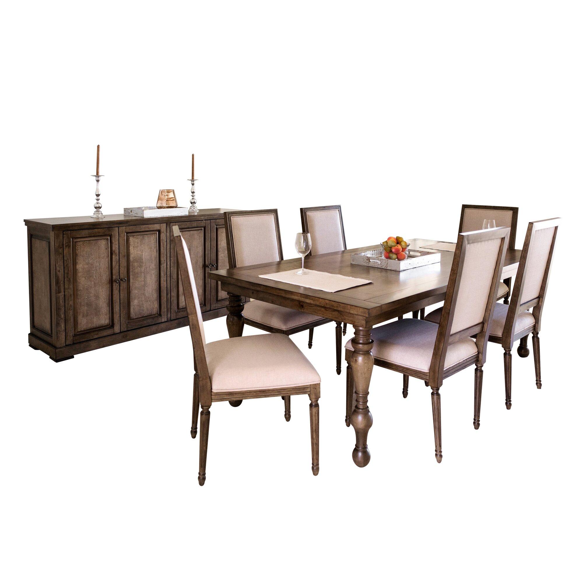 laurel foundry modern farmhouse sainte rose 8 piece dining set. Black Bedroom Furniture Sets. Home Design Ideas