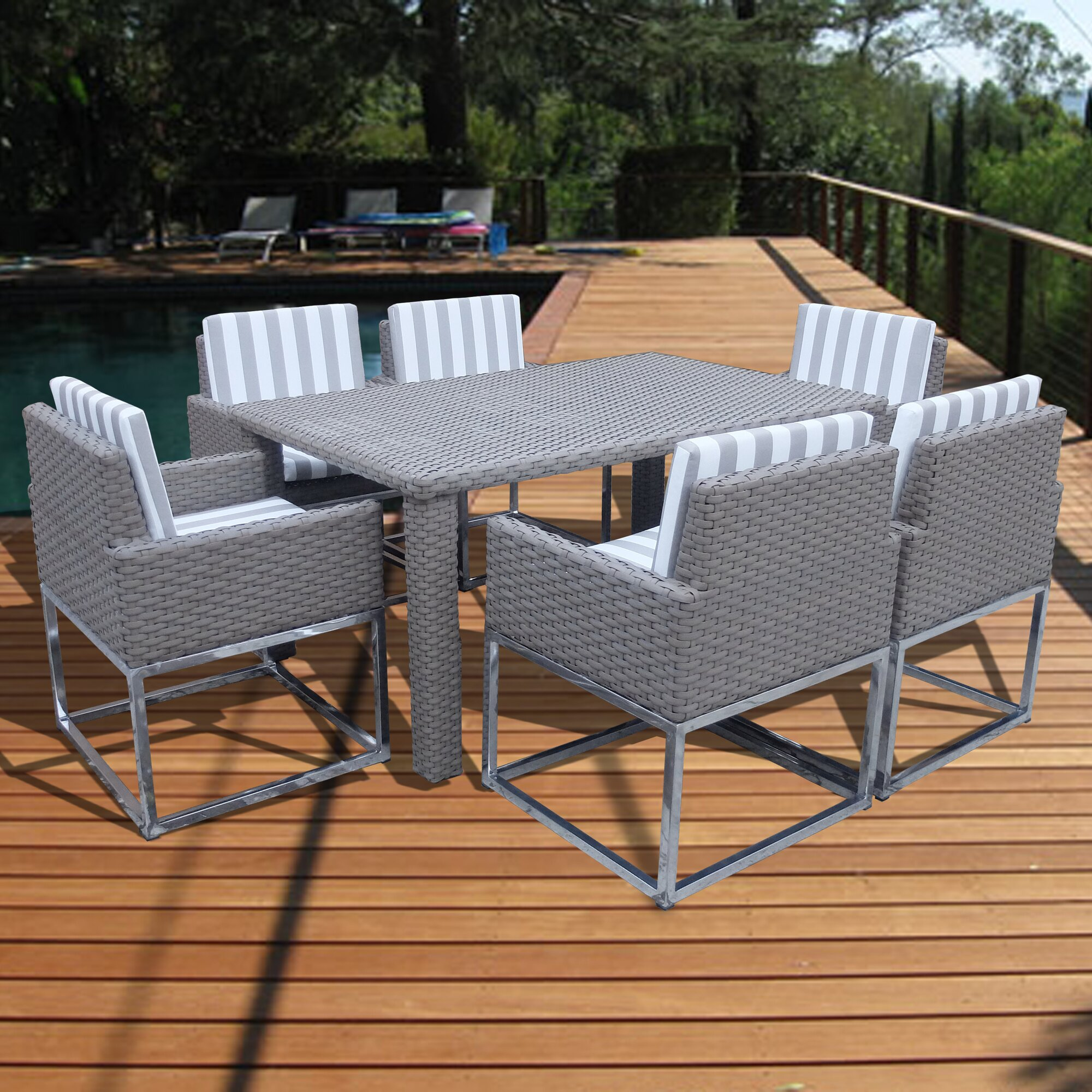 indo modern  piece dining set with cushions  reviews  allmodern - indo modern  piece dining set with cushions
