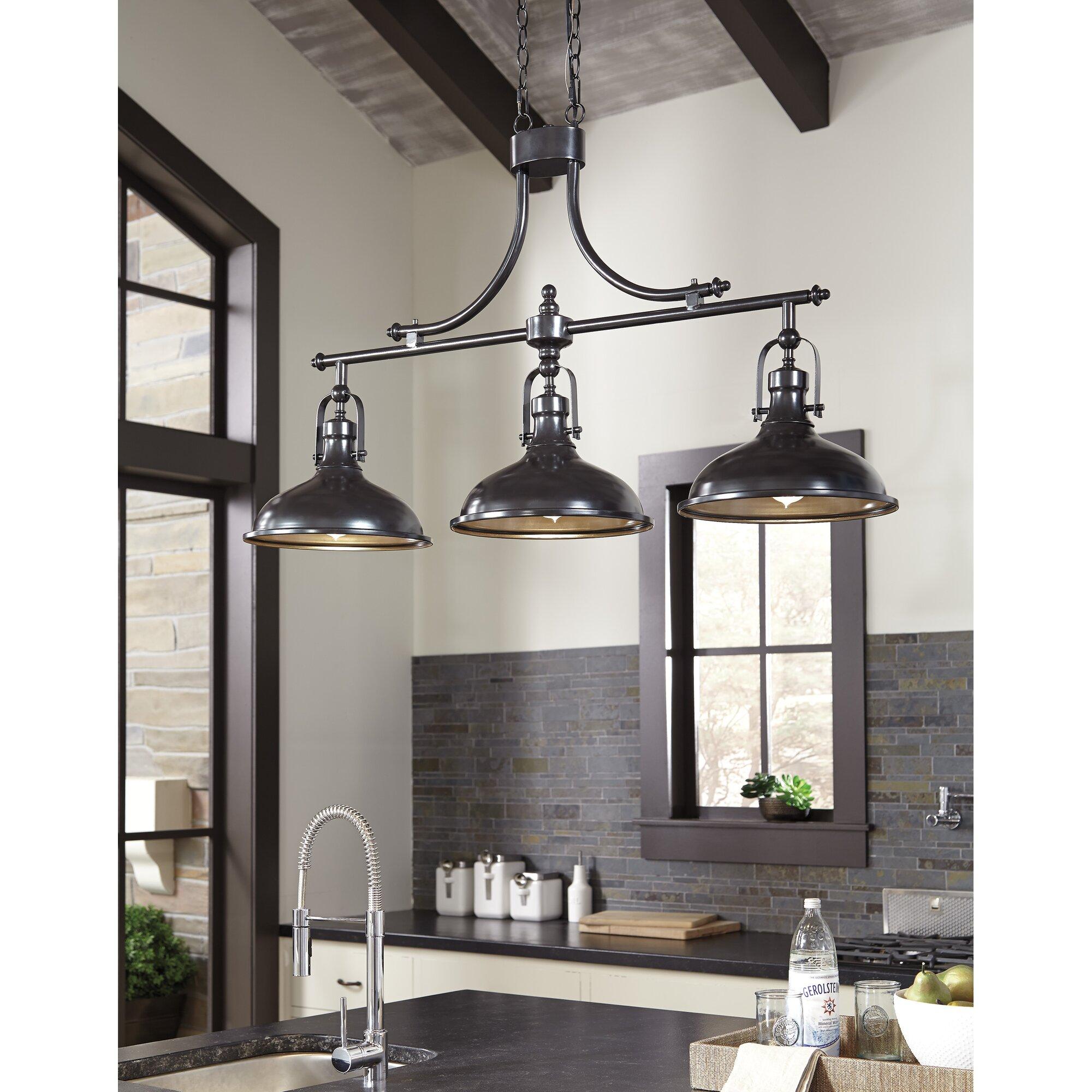 3 light kitchen island pendant lighting fixture - 3 Light Kitchen Island Pendant Lighting Fixture Strauss 3 Light Kitchen Island Pendant