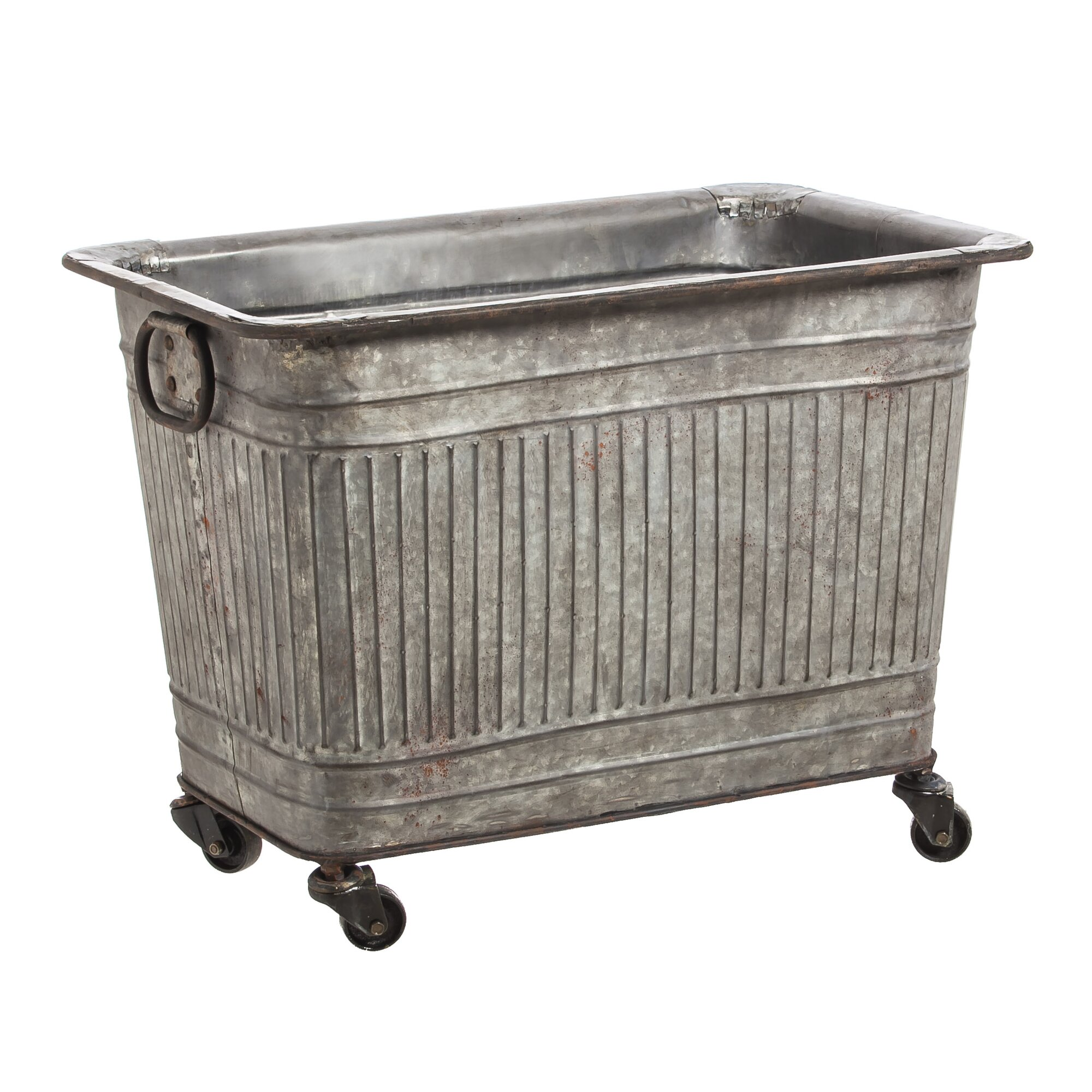 Laurel foundry modern farmhouse keira large galvanized for Large metal tub for gardening
