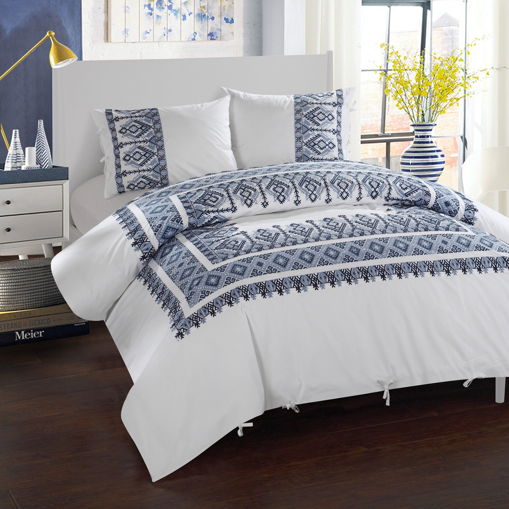 Ribbon embroidery bedspread designs - 3 Piece Sarita Garden Aztec Ribbon Embroidered Duvet Cover Set