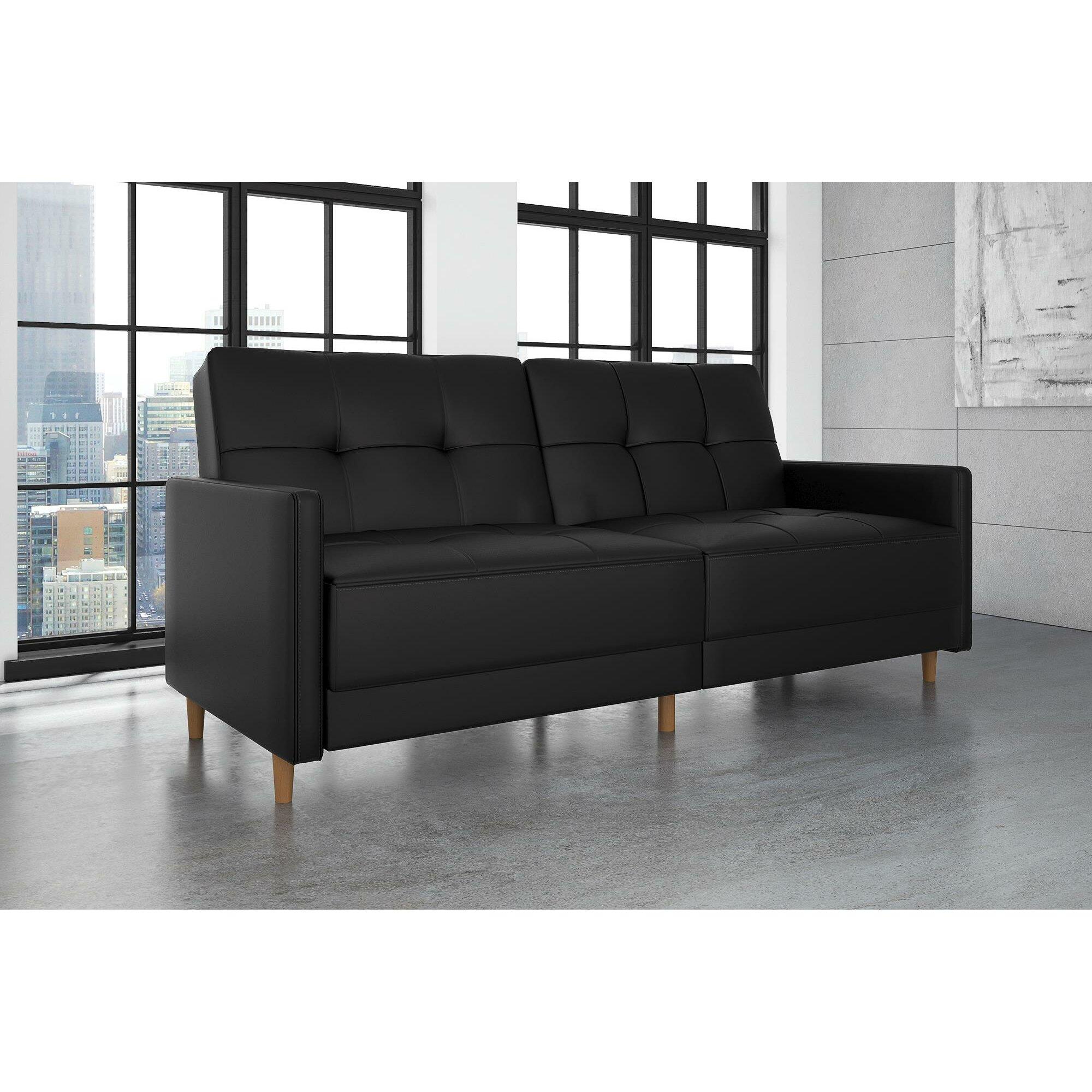 faux leather sofa reviews living room alluring livingroom  - mercury row benitez faux leather convertible sofa reviews wayfair