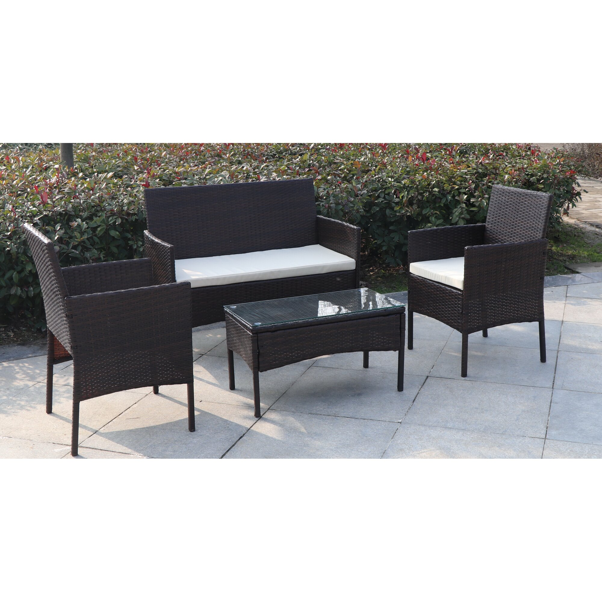 Jj International Madison 4 Piece Wicker Seating Group With Cushion . Madison  Fireplace And Patio ...