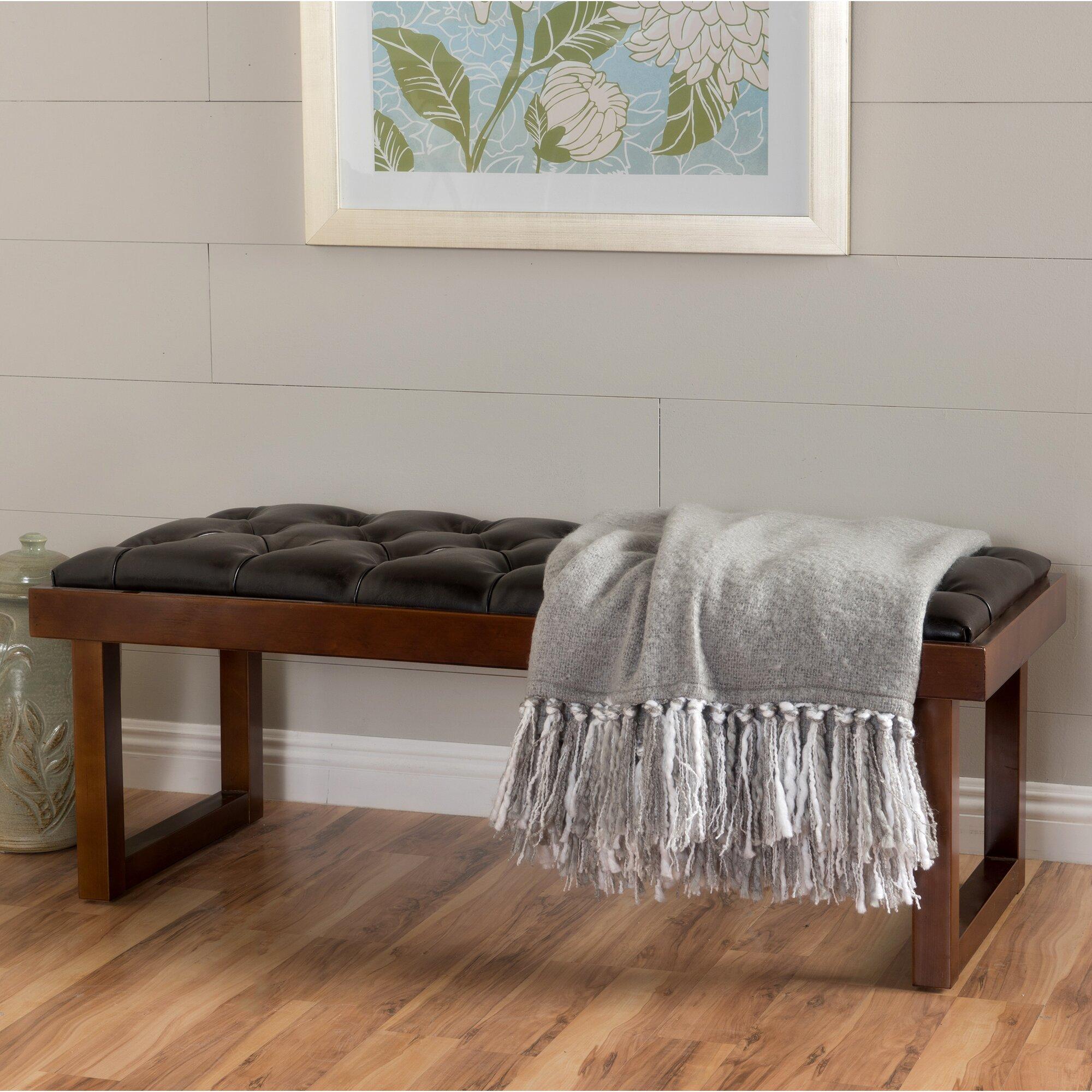 red barrel studio borgen faux leather bedroom bench
