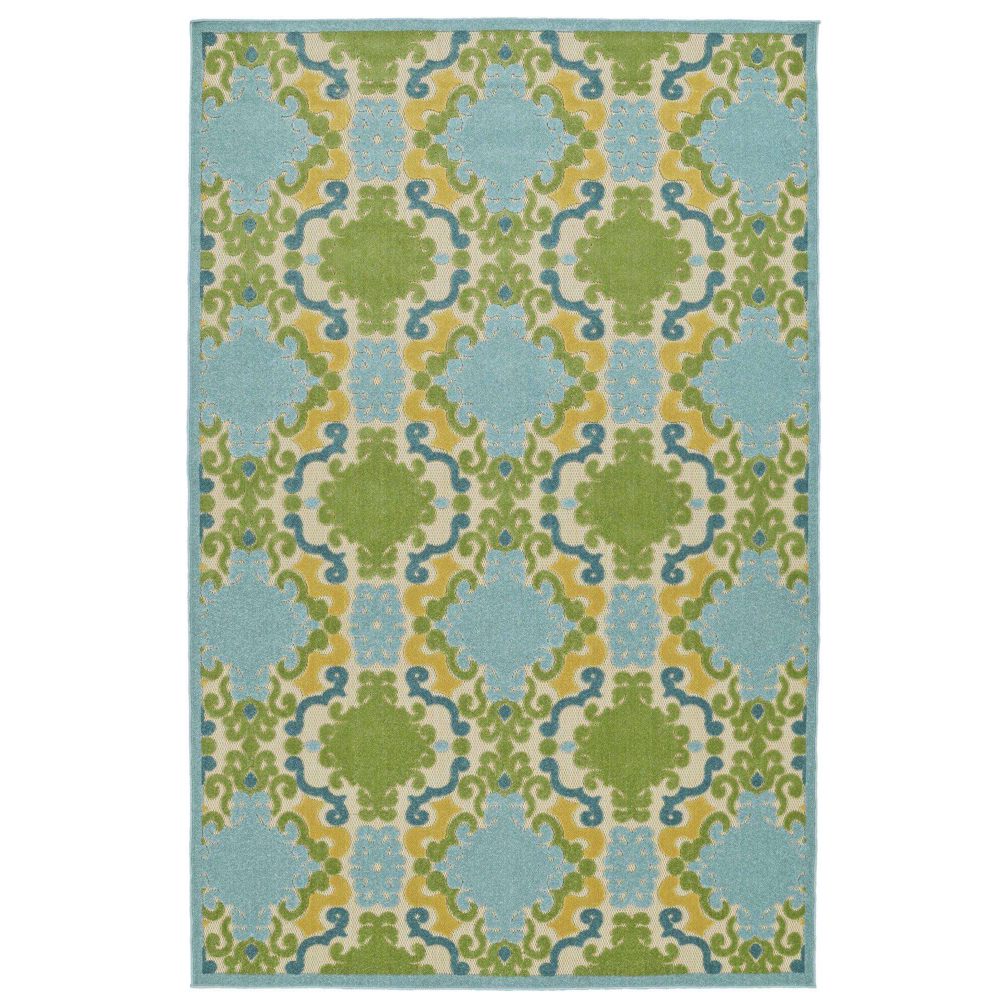 Zipcode design almond creek machine woven blue indoor for Blue indoor outdoor rug
