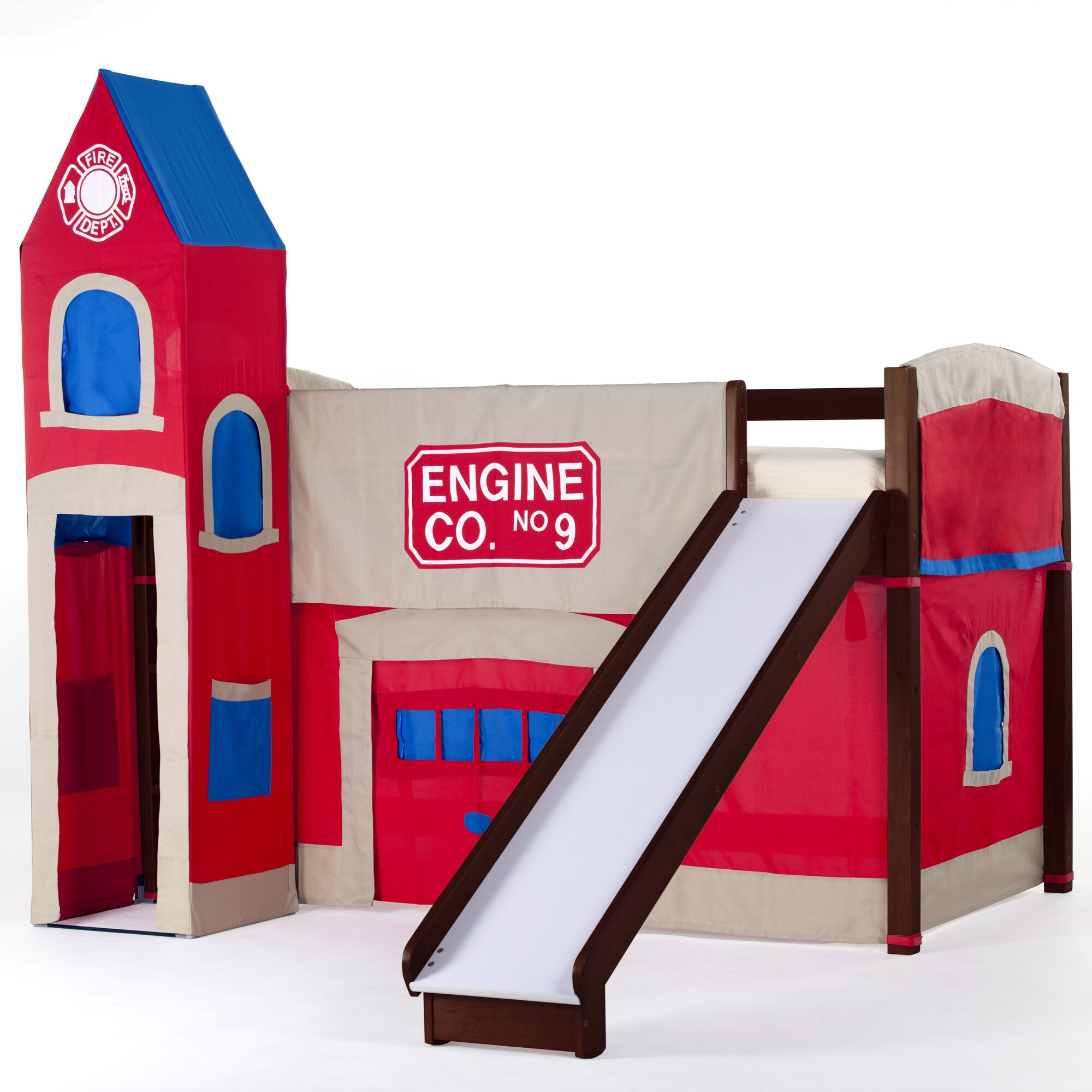 Bunk beds with slide and tent - Summer Firehouse Loft With Slide
