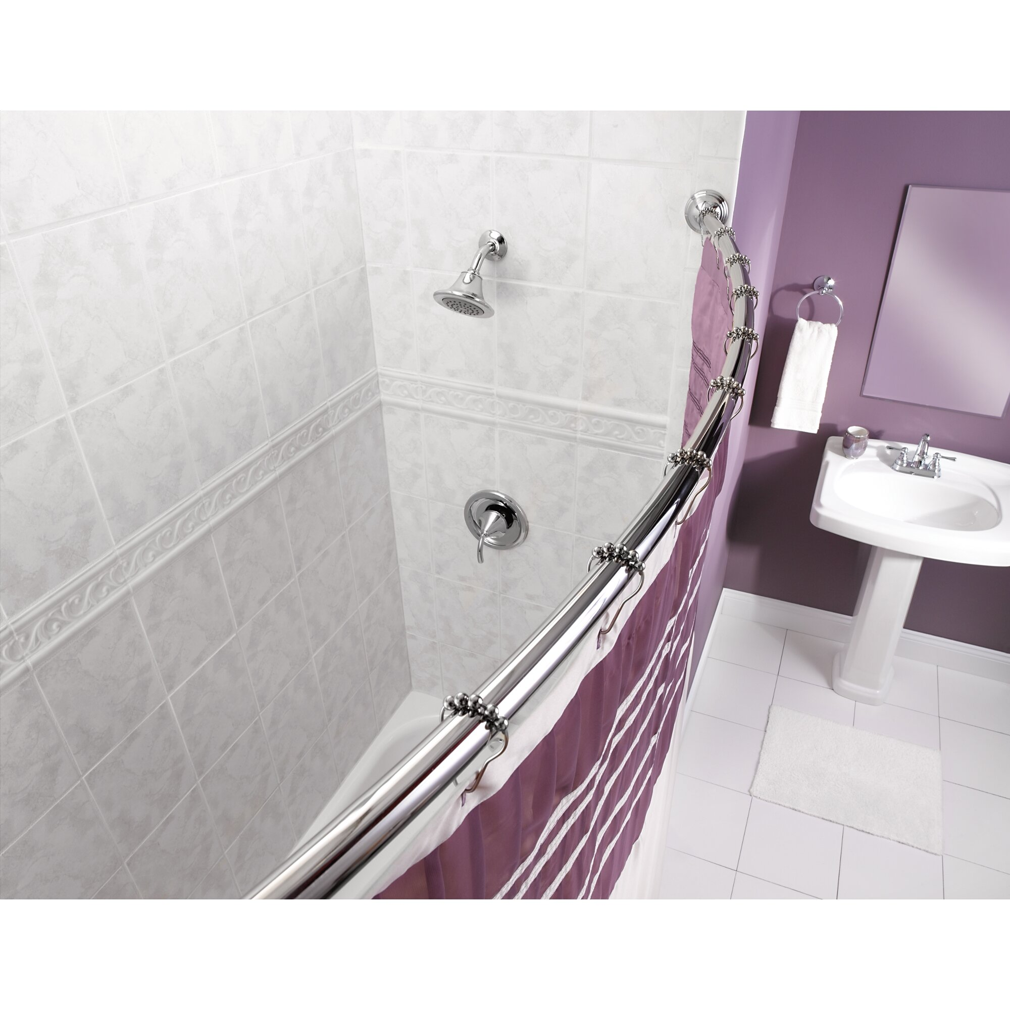 Curved curtain rod - 59 Curved Shower Curtain Rod
