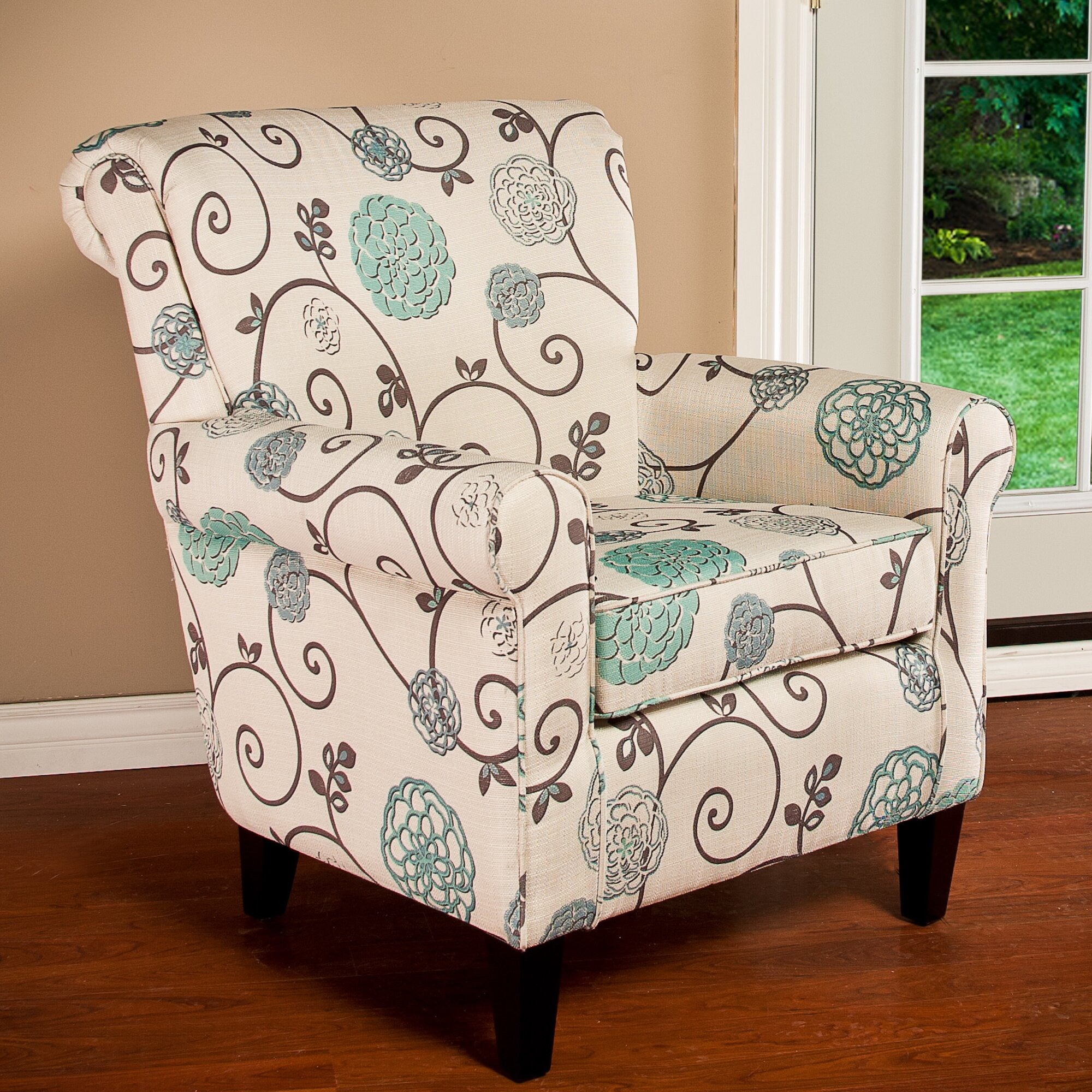 Turquoise and brown accent chair - Wadham Flowered Armchair