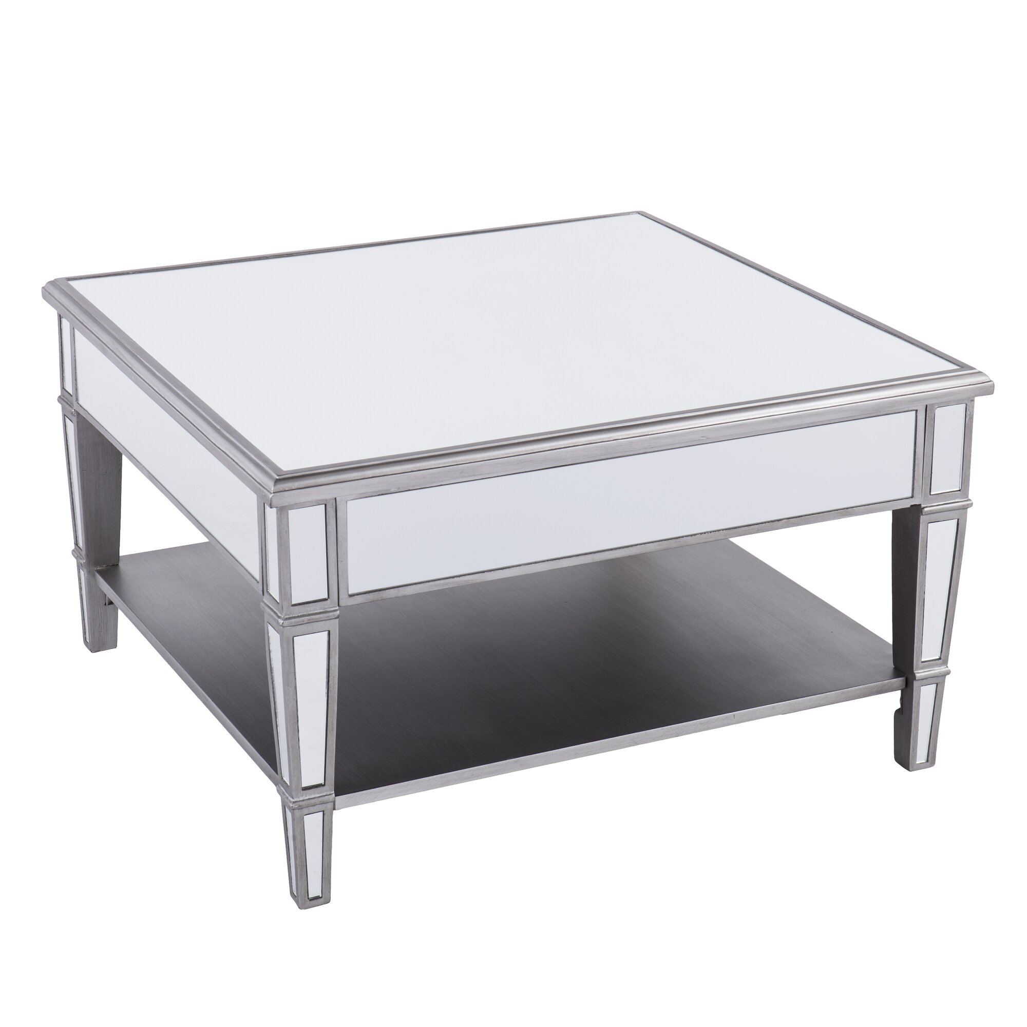 House of hampton caspian mirrored square coffee table for Wayfair mirrored coffee table