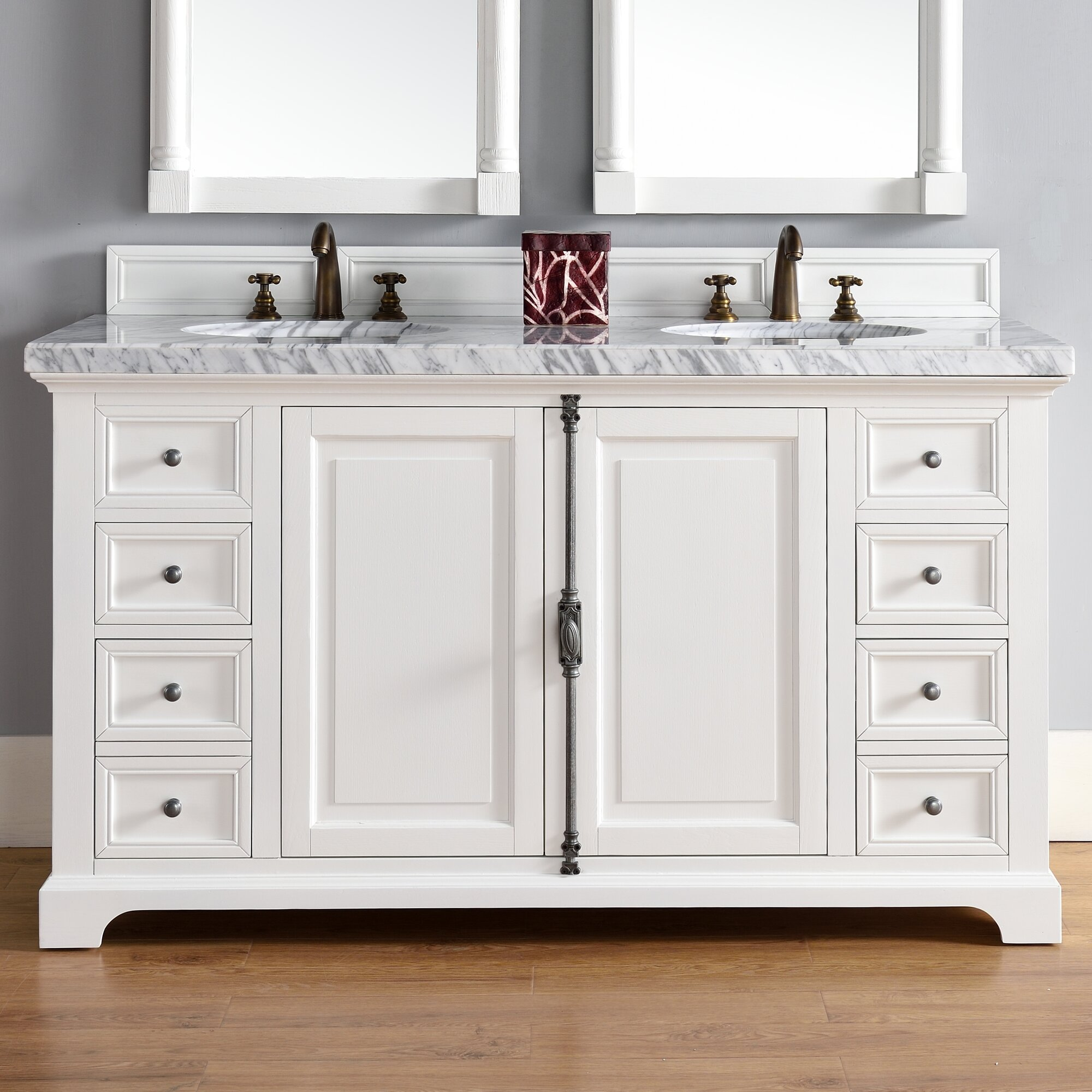 James martin furniture providence 60 double cottage white - Wayfair furniture bathroom vanities ...