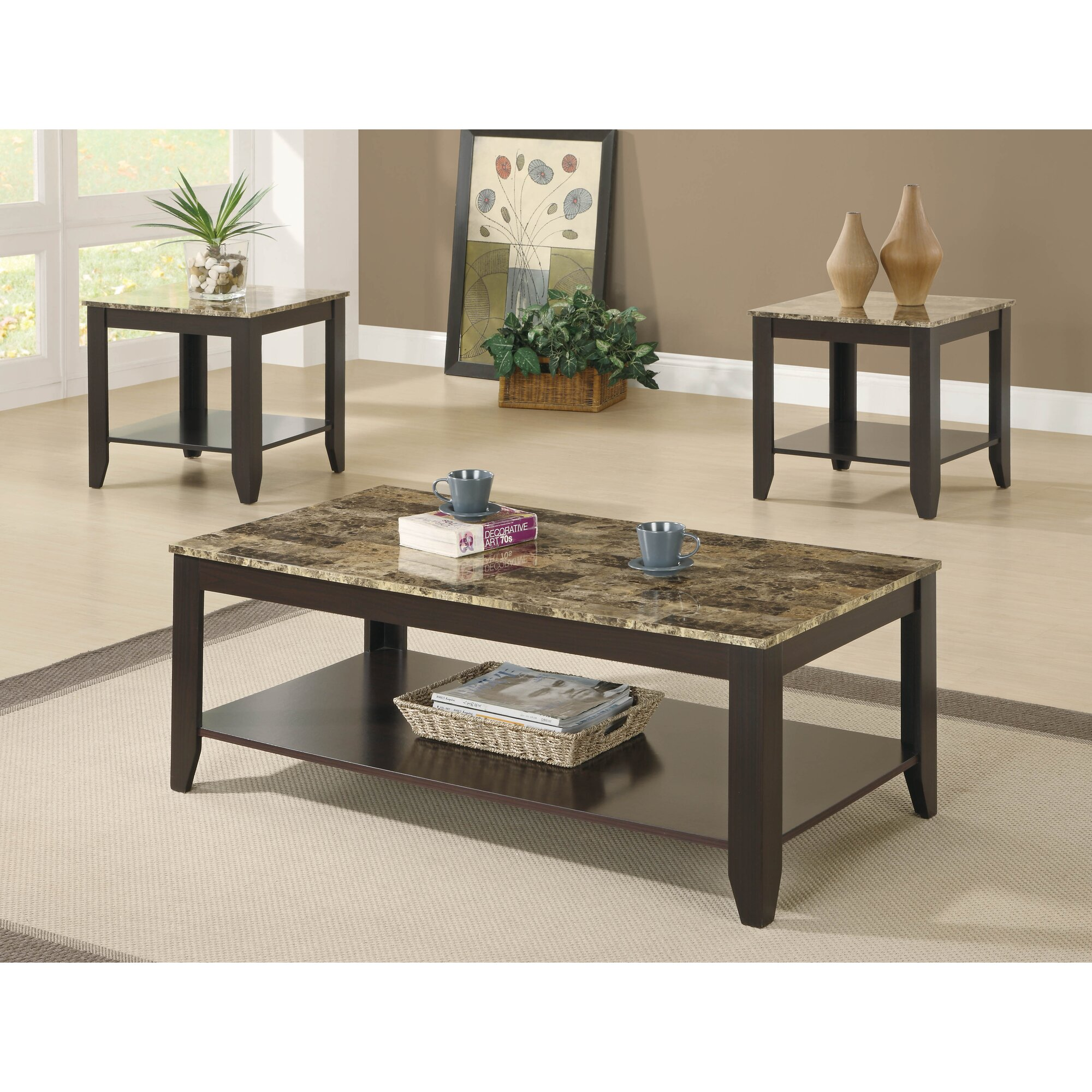 Faux Marble Coffee Table Canada: Titus Furniture 3 Piece Coffee Table Set