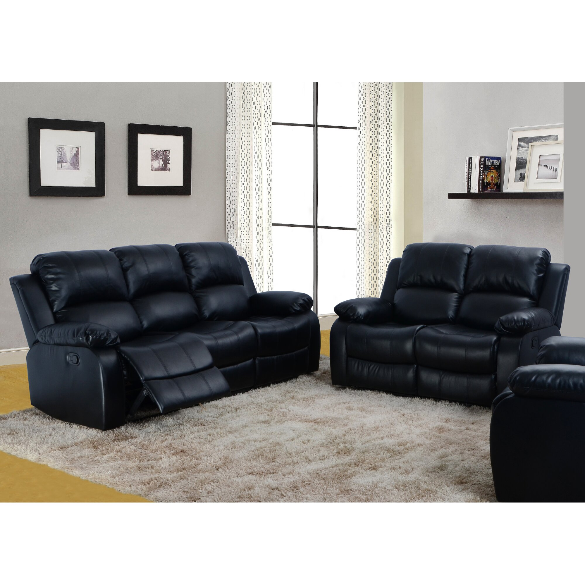 maumee 2 piece bonded leather reclining living room sofa set - Swivel Recliner Chairs For Living Room 2