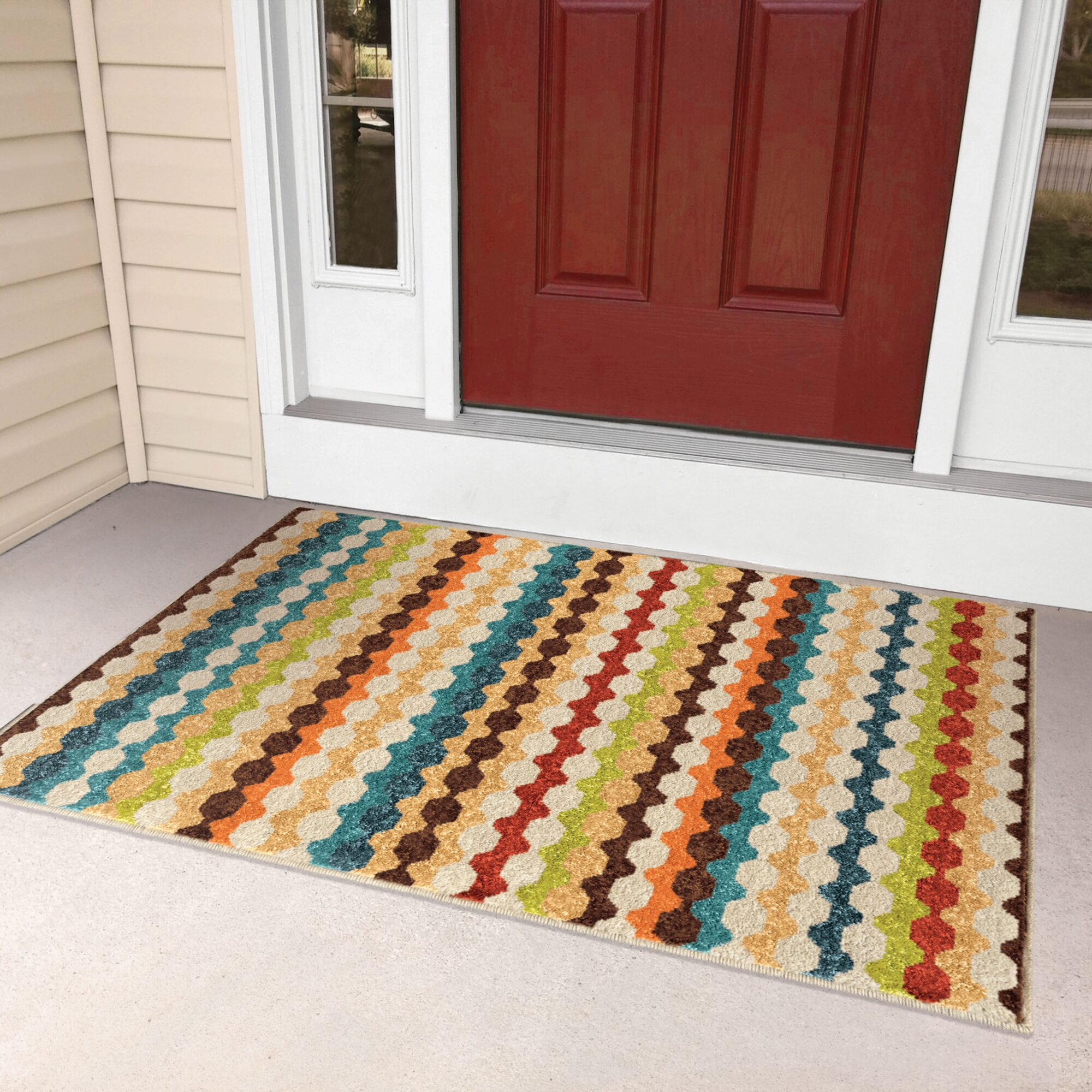 Zipcode design calhoun green beige indoor outdoor area rug for Indoor outdoor carpet green