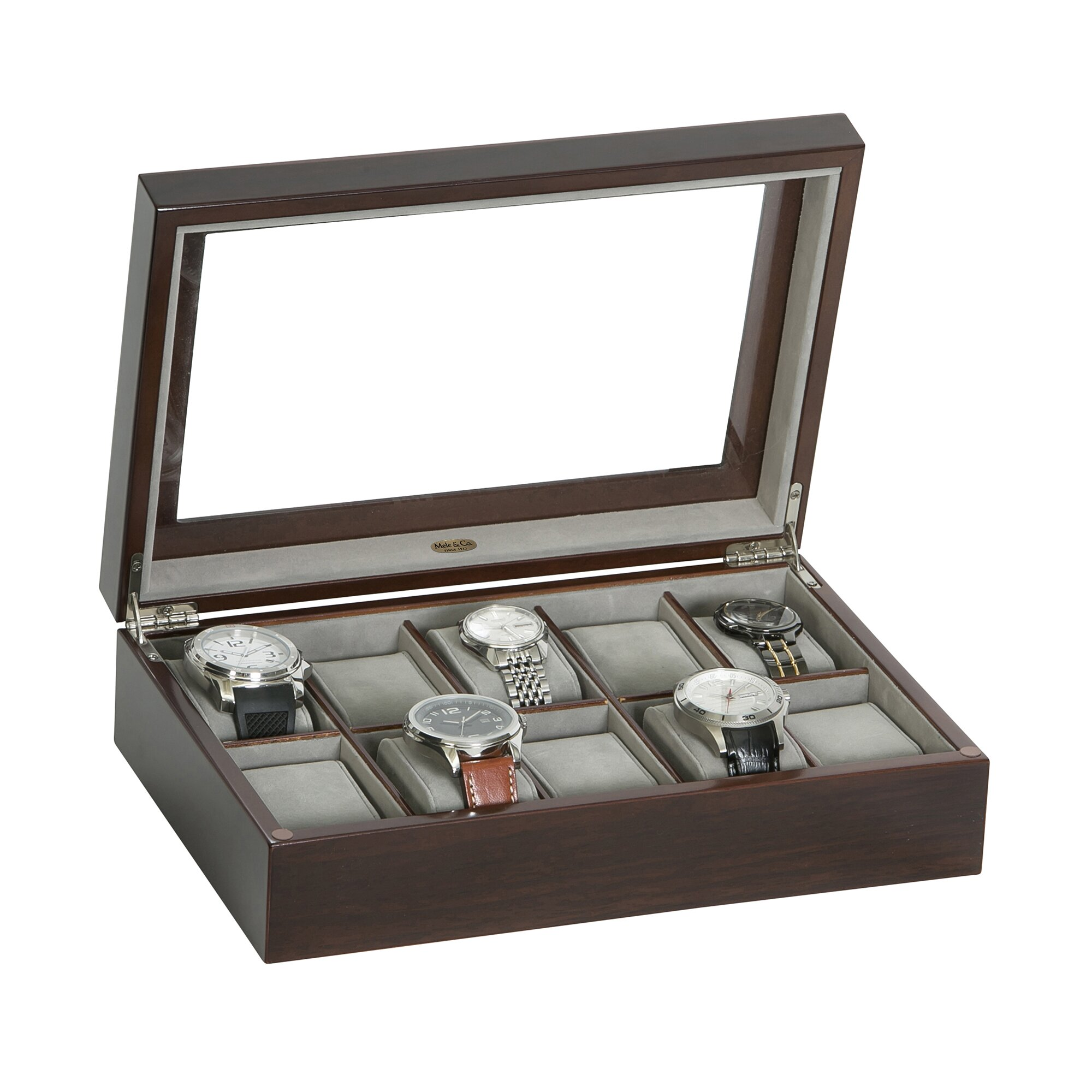 Mele Amp Co Hudson Glass Top Wooden Watch Box Wayfair Ca