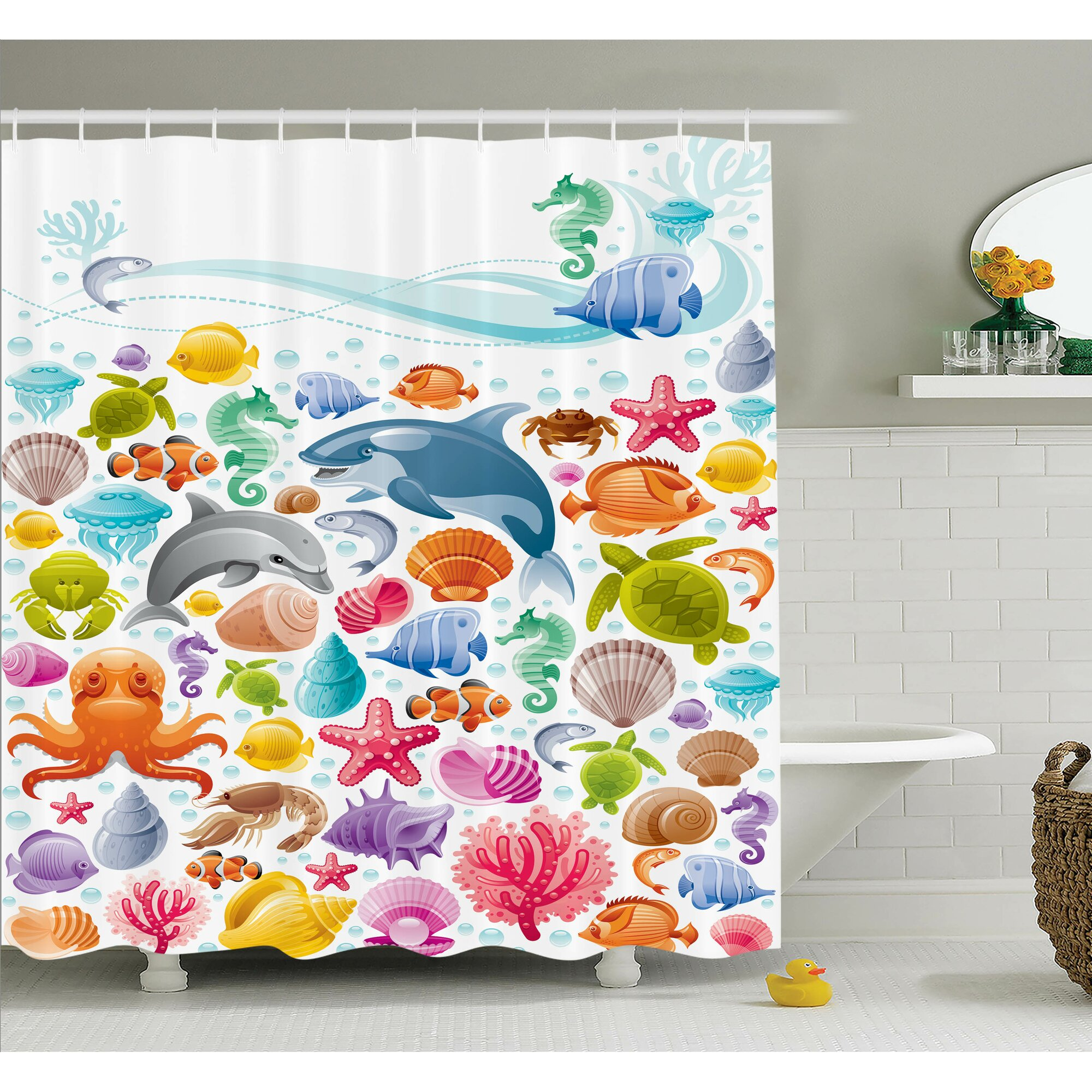 Ambesonne kids tropical ocean animals shower curtain set for Kids shower curtain sets