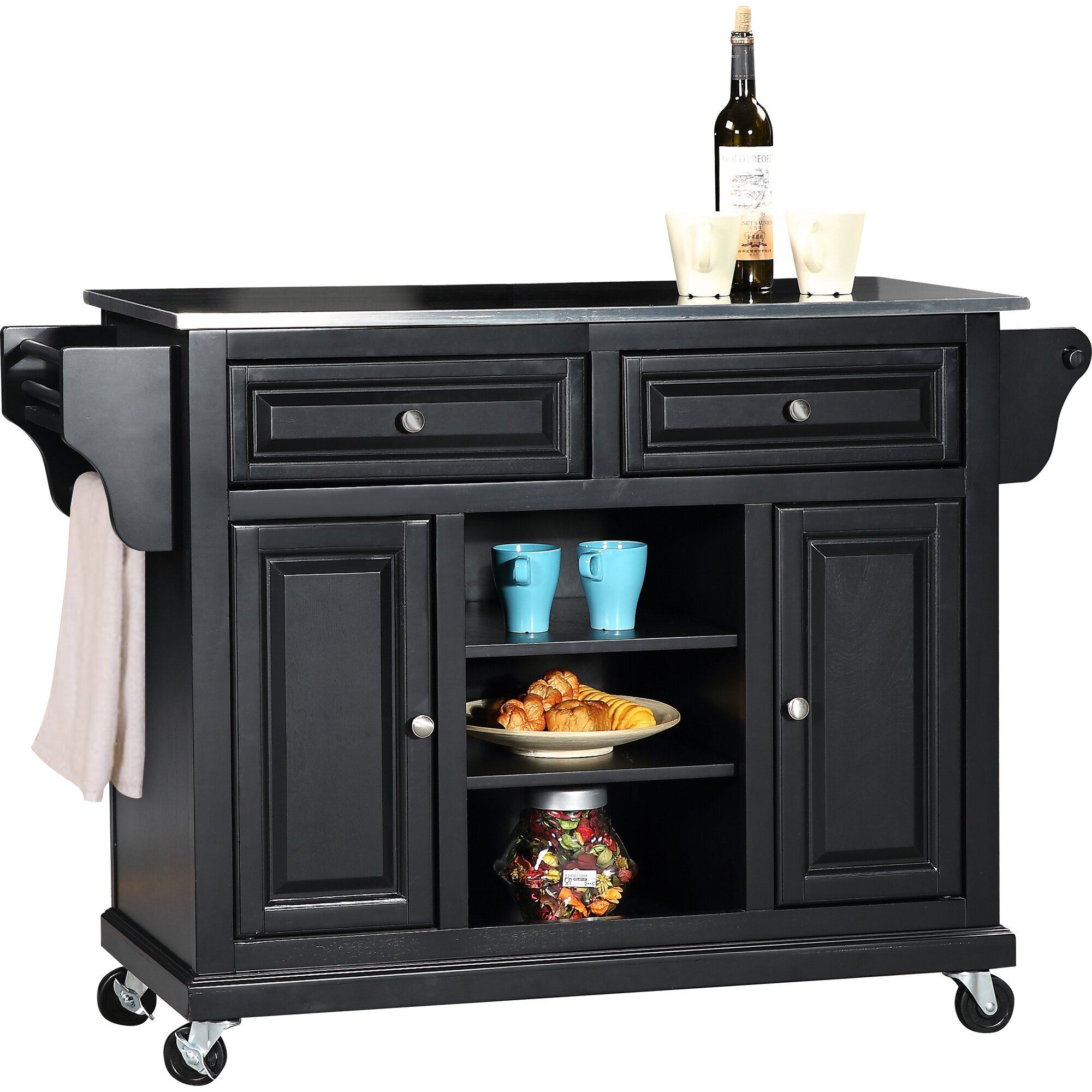 Wildon Home ® Kitchen Island With Stainless Steel Top
