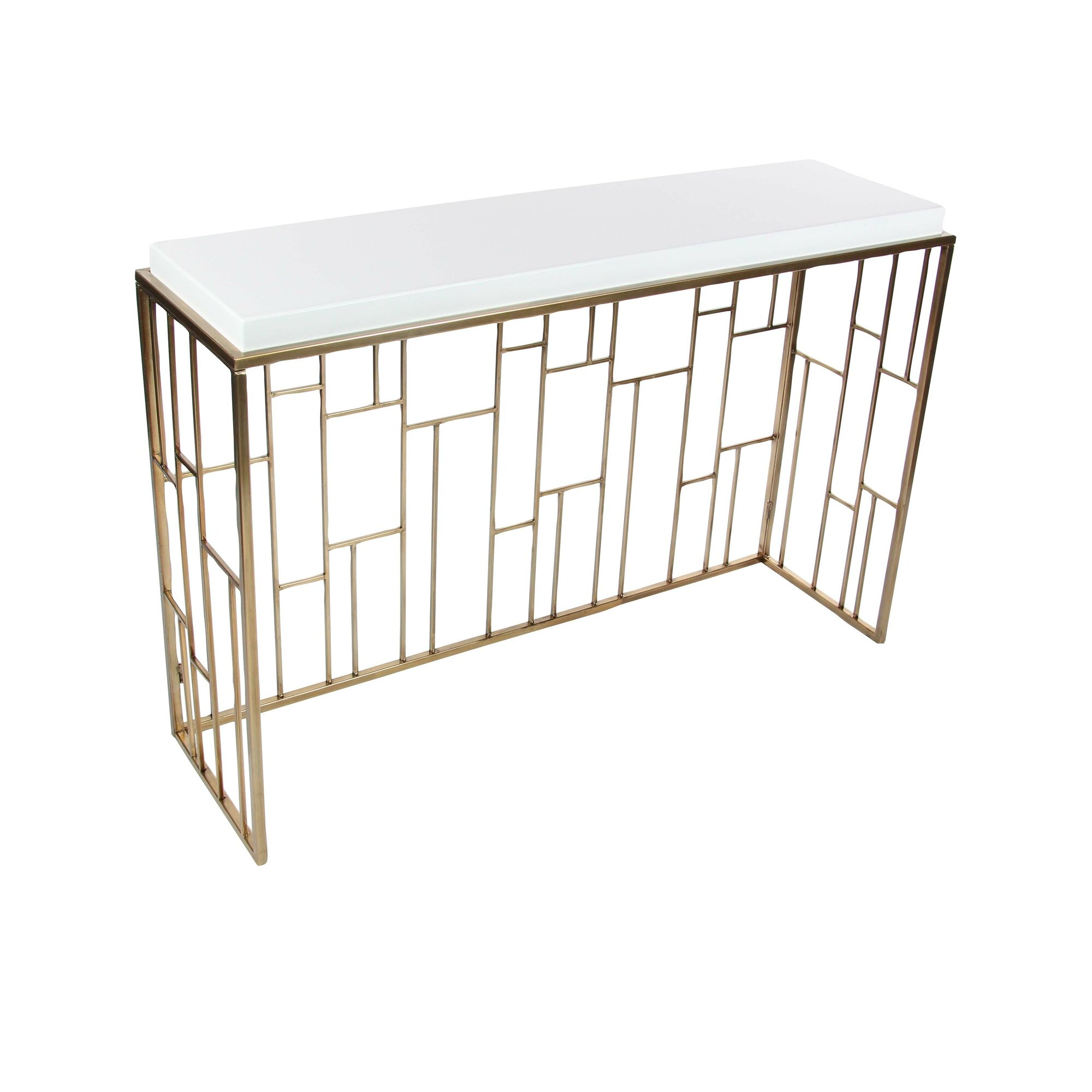 Cole grey metal wood console table reviews for Wood and metal console table
