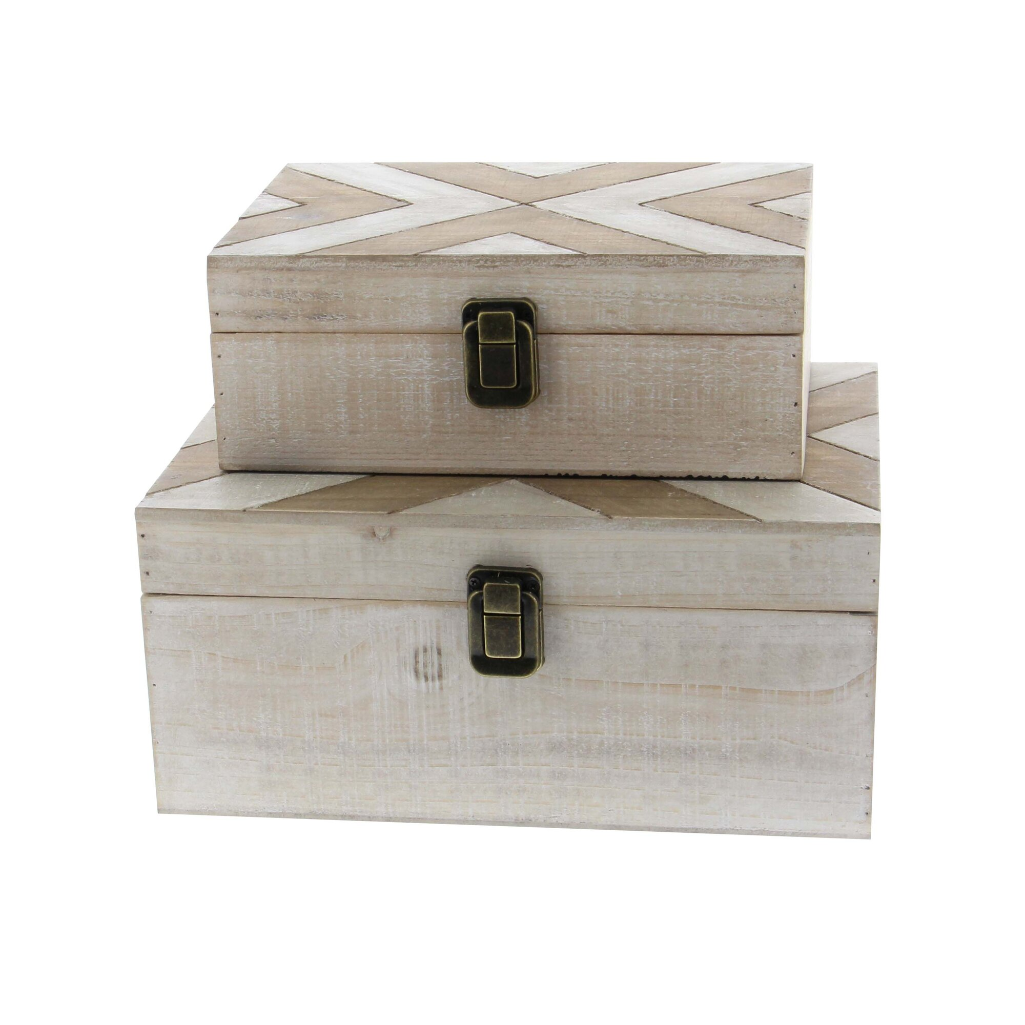 Cole grey 2 piece wood box set for Decor containers coles