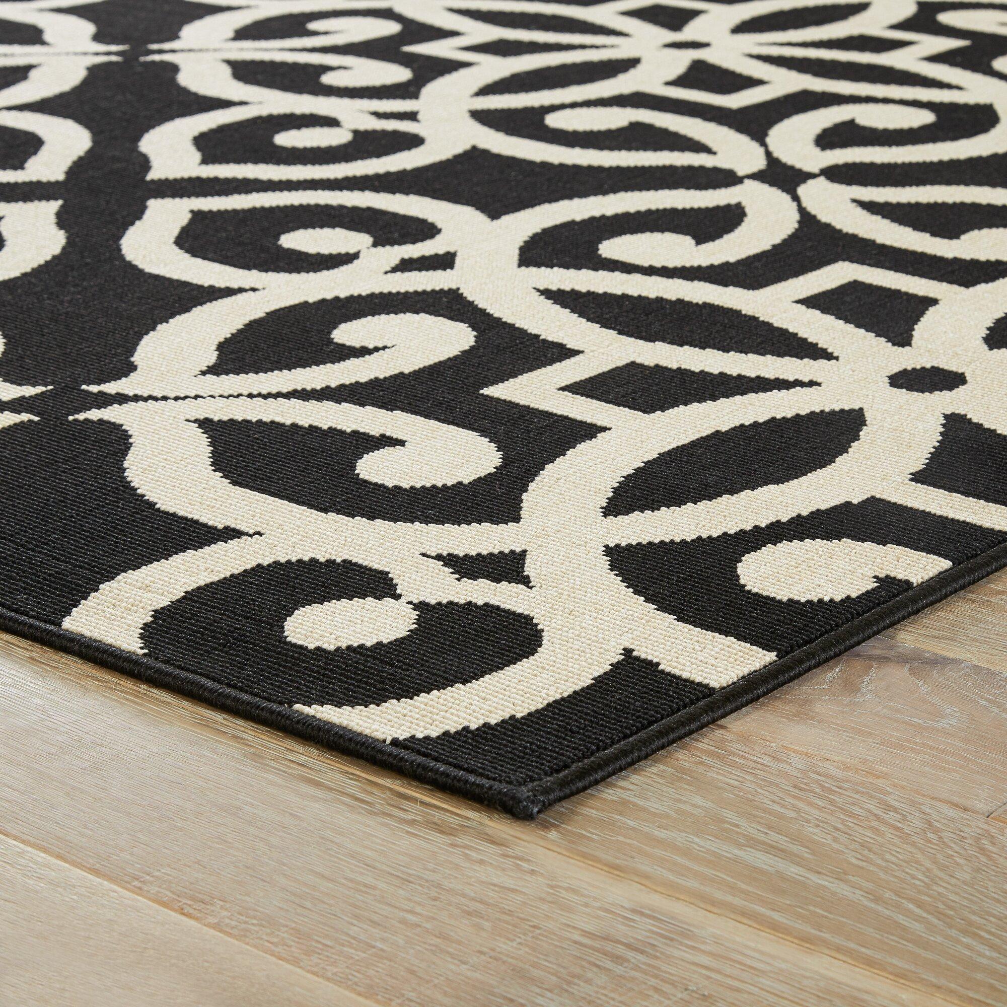 Mercer41™ Highgate Black Taupe Indoor Outdoor Area Rug