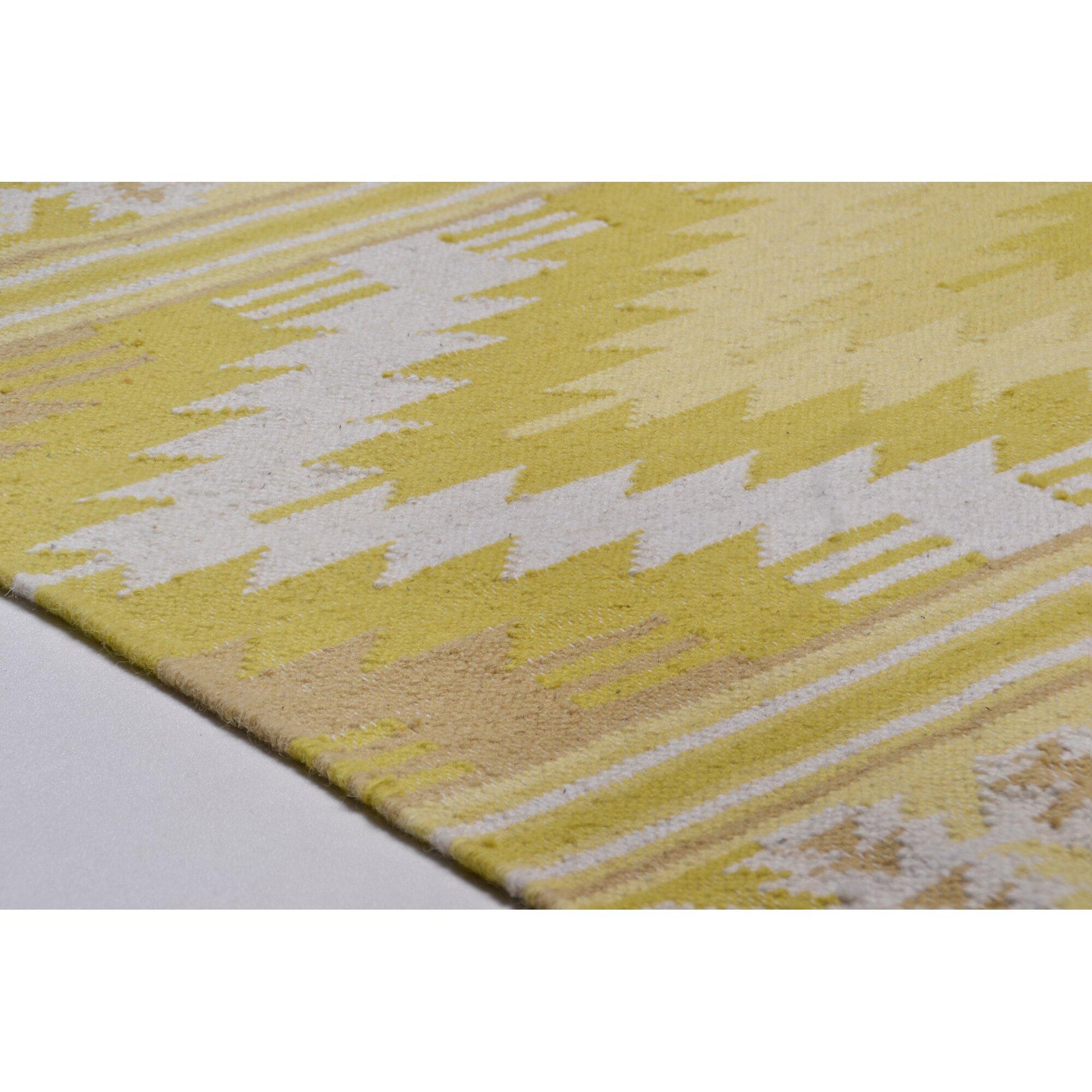 Bel Étage Handgewebter Wolle Teppich Vintage in Gelb