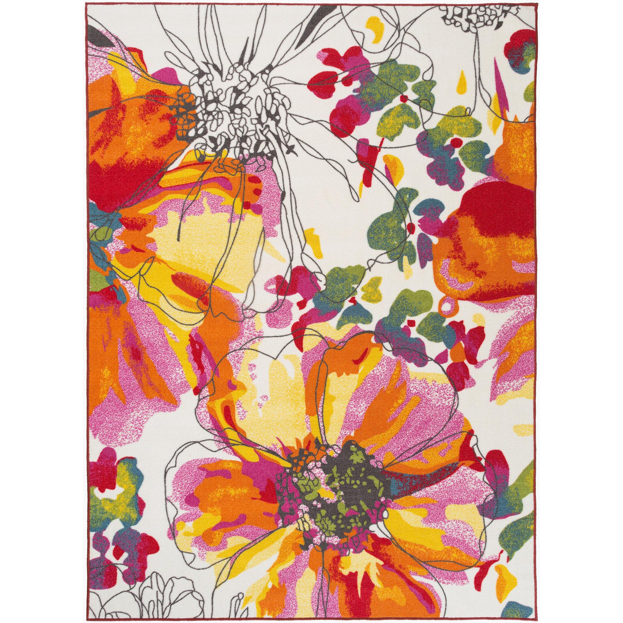 Ebern designs domenique bright flowers orange white area for Bright floral area rugs