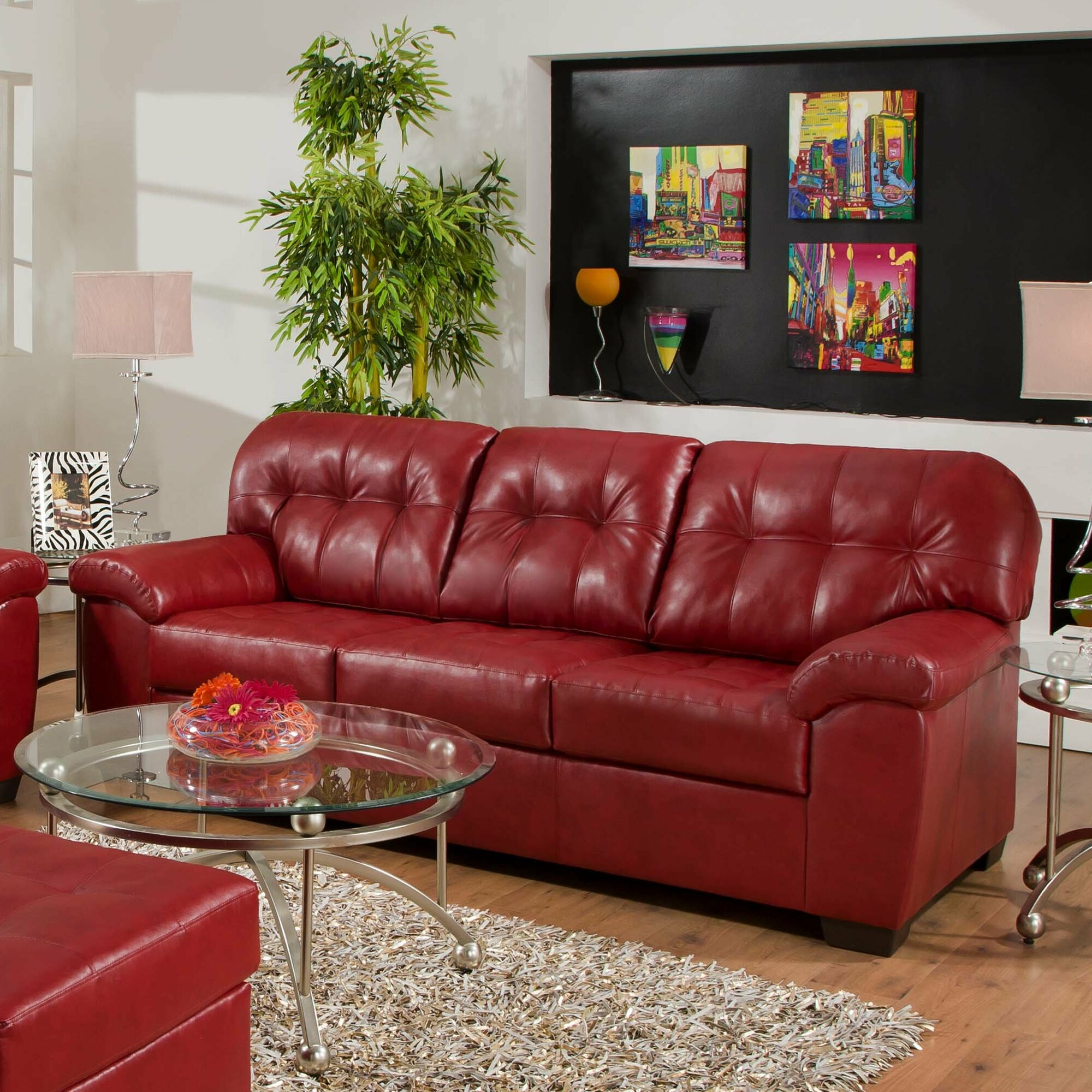 Simmons Flannel Charcoal Sofa Instasofa