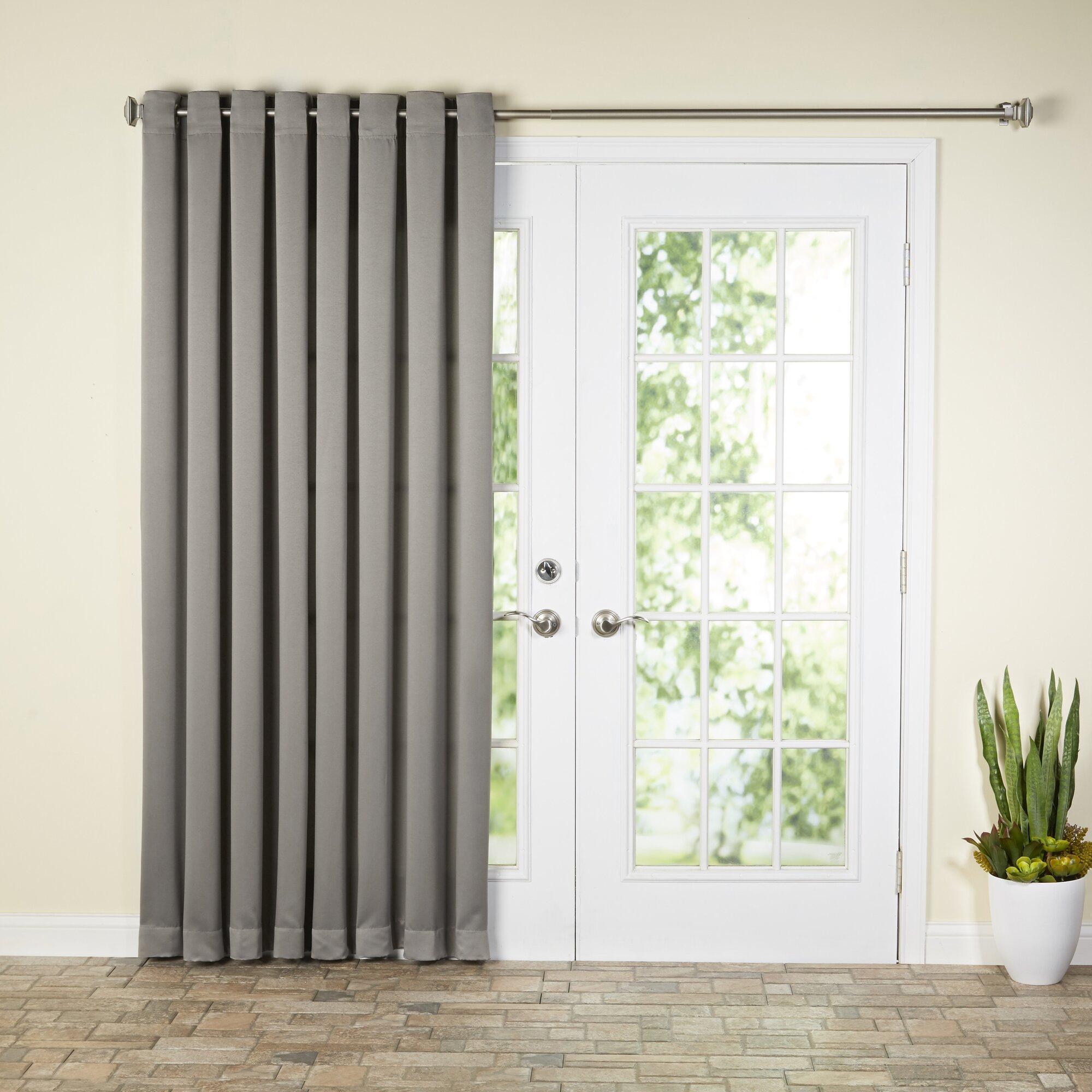 Curtains for patio doors - Wayfair Basics Solid Room Darkening Grommet Extra Wide Patio Door Curtain Panel