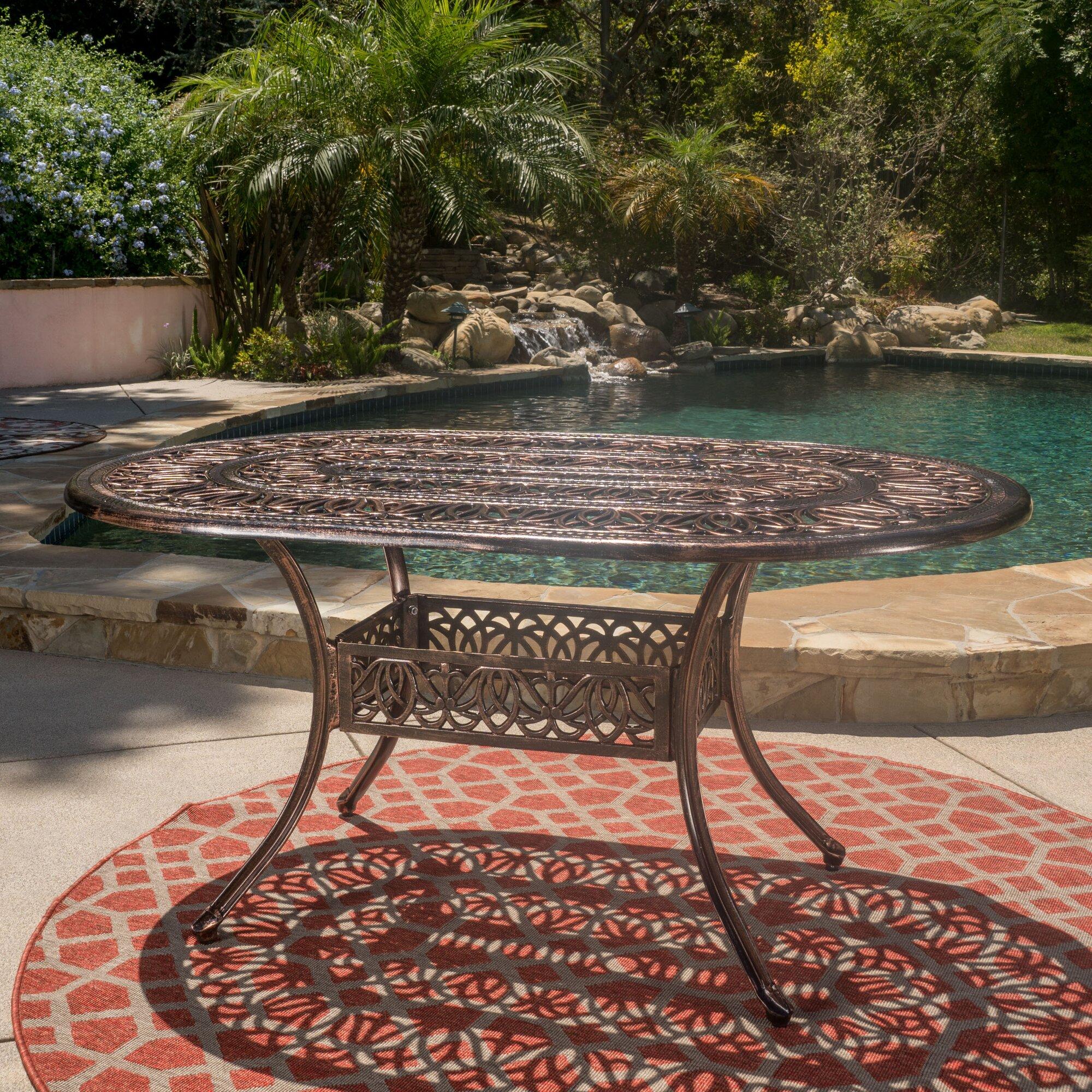 Astoria Grand Fuller Outdoor Dining Table & Reviews   Wayfair