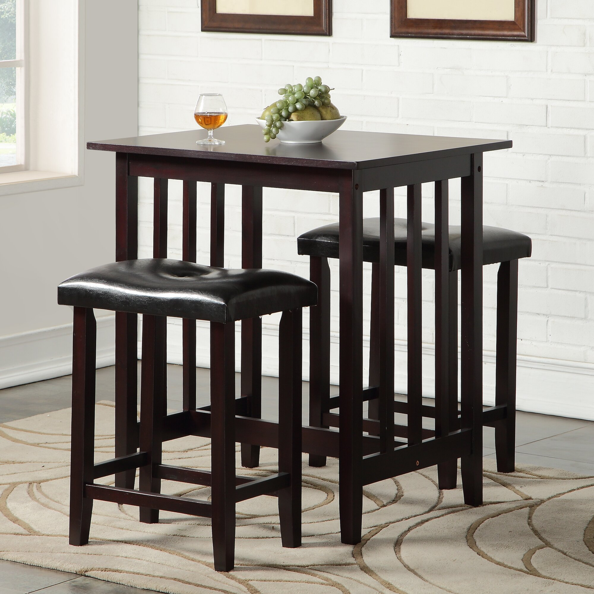 Kitchen pub table and chairs - Richland 3 Piece Counter Height Pub Table Set