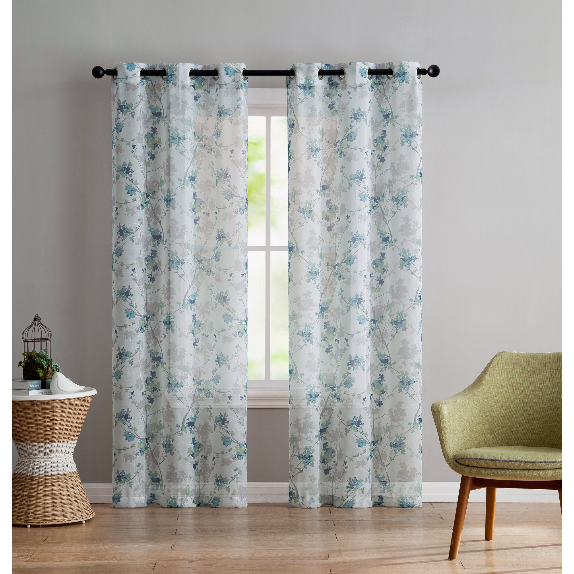 Winston Porter Simpson Nature Floral Semi Sheer Grommet: Winston Porter Corteny Nature/Floral Sheer Curtain Panels & Reviews
