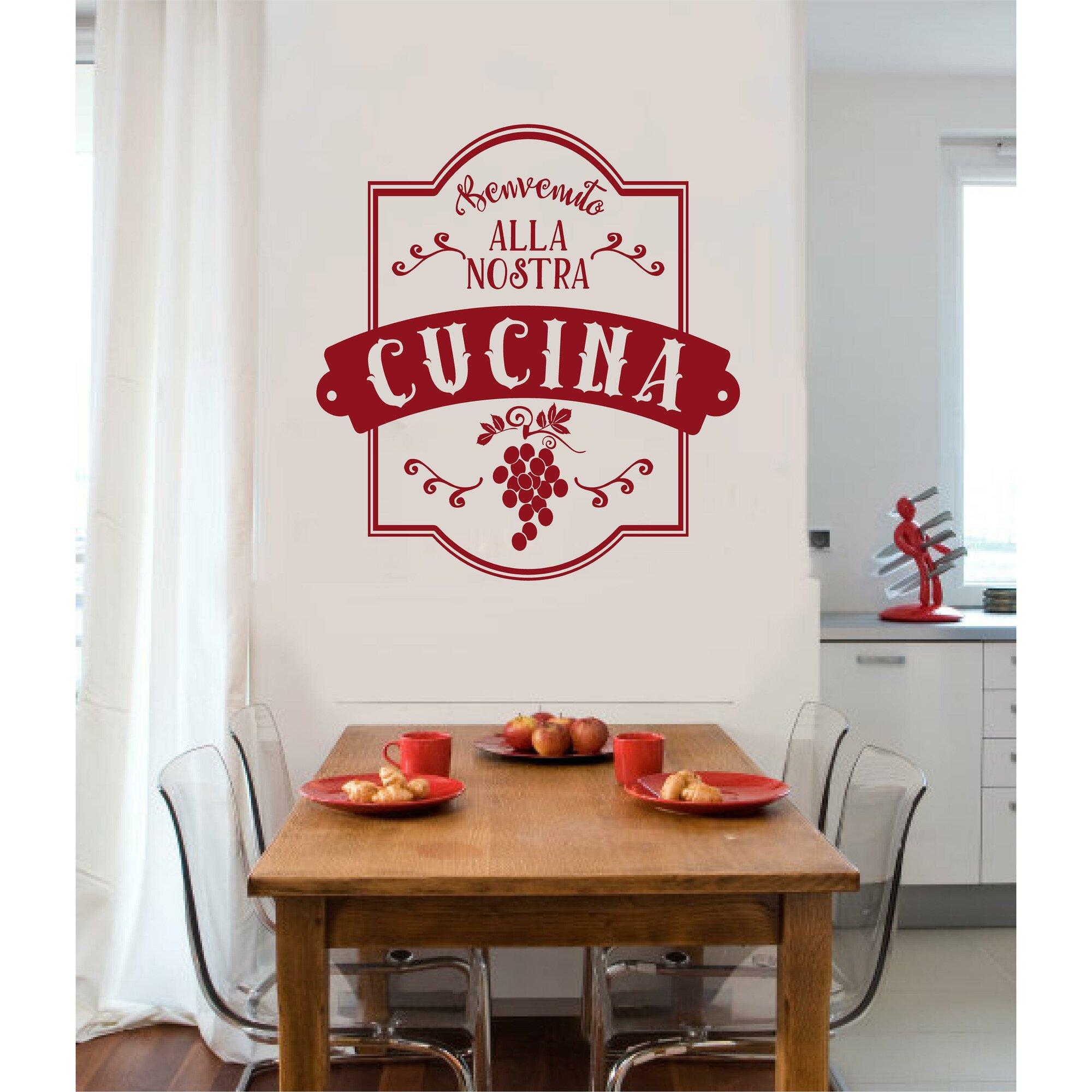 benvenuto alla nostra cucina italian vinyl word lettering kitchen wall decal