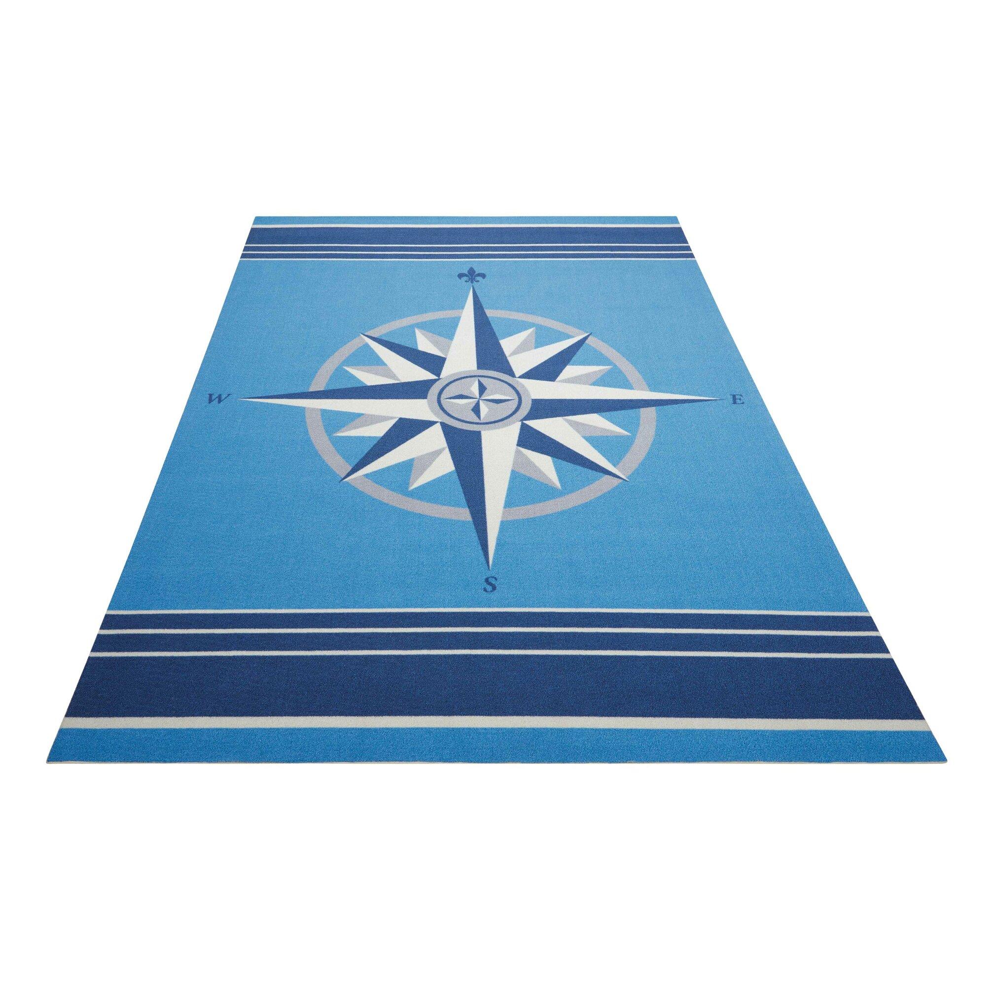Waverly Sun n' Shade Blue Indoor Outdoor Area Rug